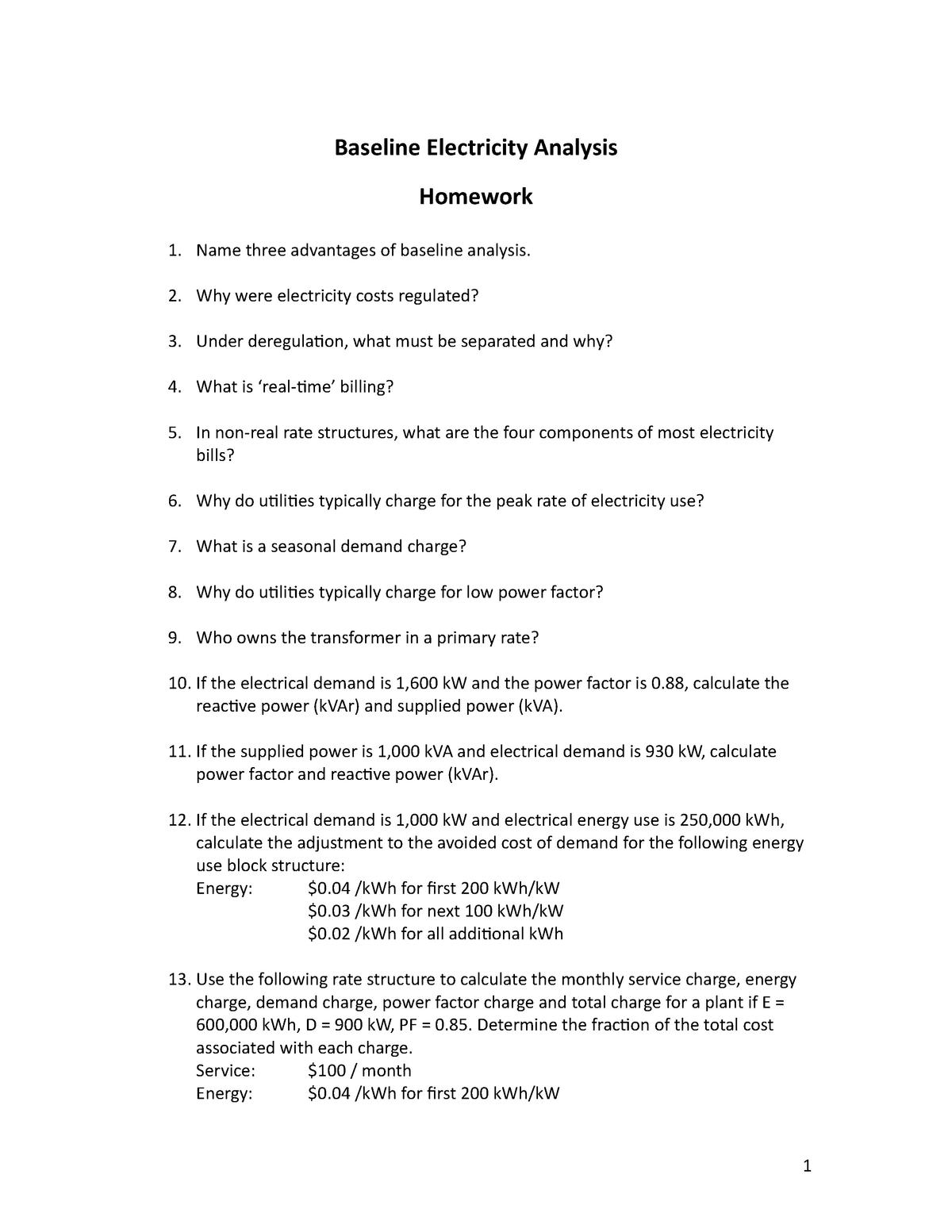 2009-2010 Homework 1 - Baseline Electricity Analysis - MEE 478