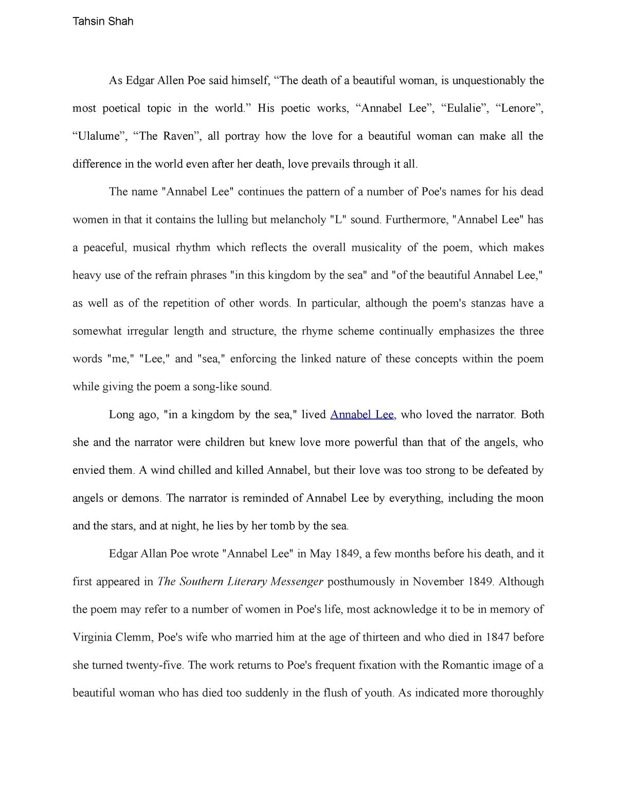 Essay 3 - Grade: A+ - ENGL 165W Introduction To Poetry - StuDocu