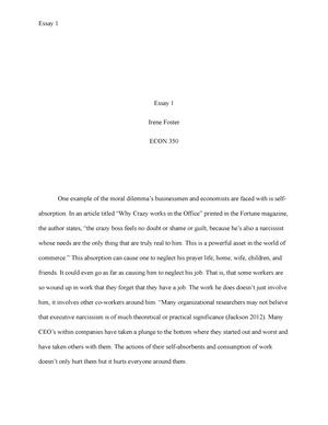 Essay 1 - ECON 350 Classical Economics (D) - LU - StuDocu