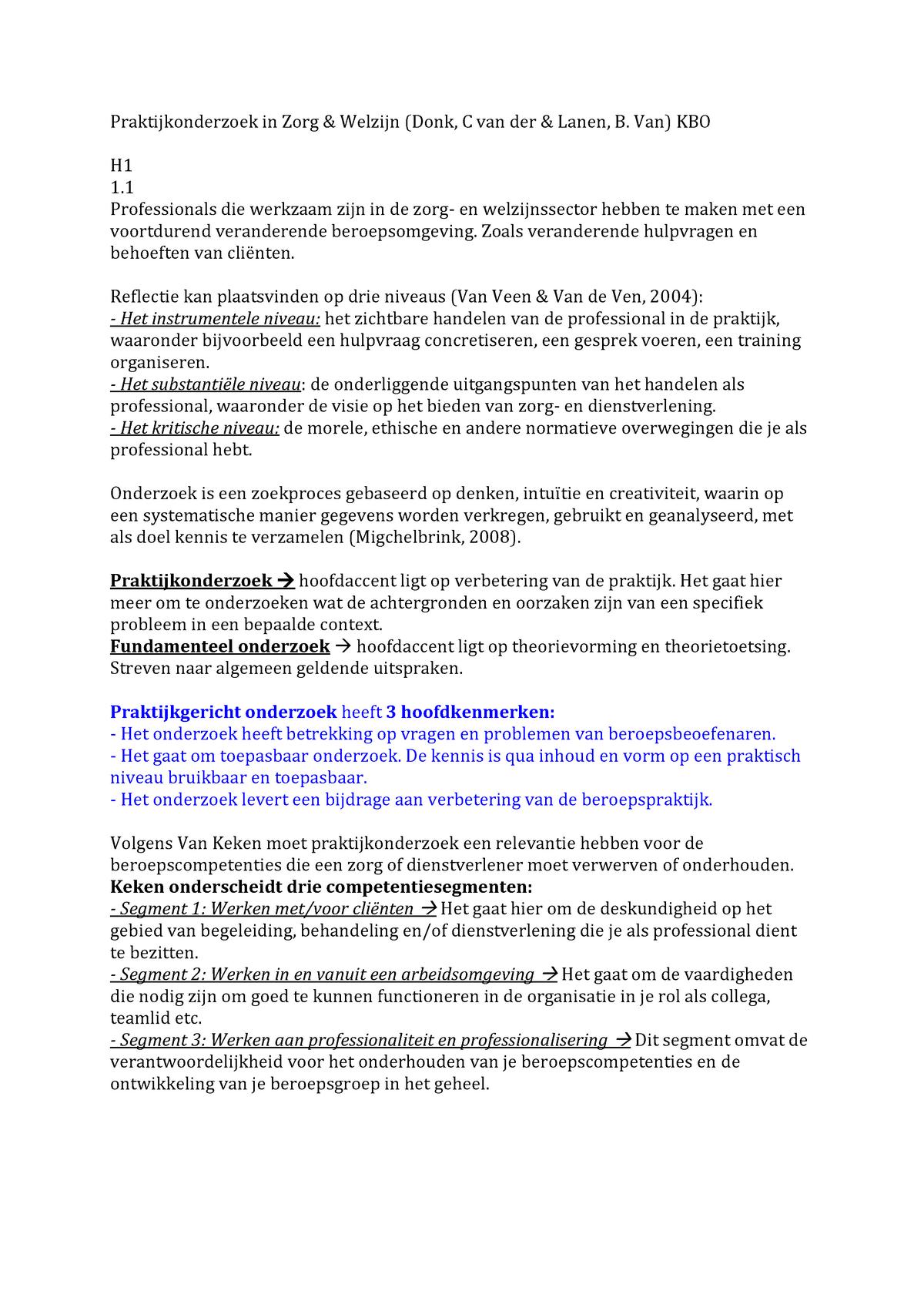 Uitgelezene Samenvatting Zorg & Welzijn C van der Donk & B. van - StudeerSnel.nl VT-42