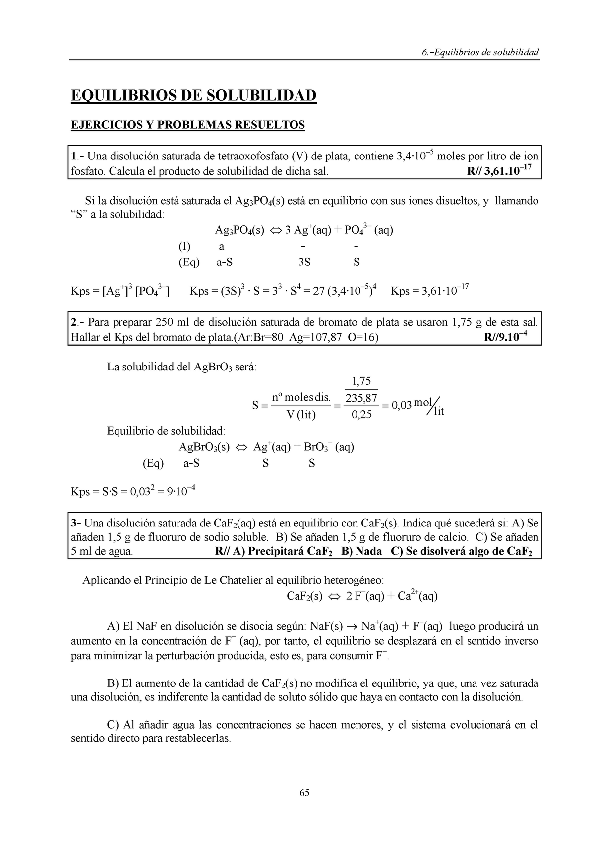 EJERCICIOS RESUELTOS DE SOLUBILIDAD QUIMICA - - U M S N H