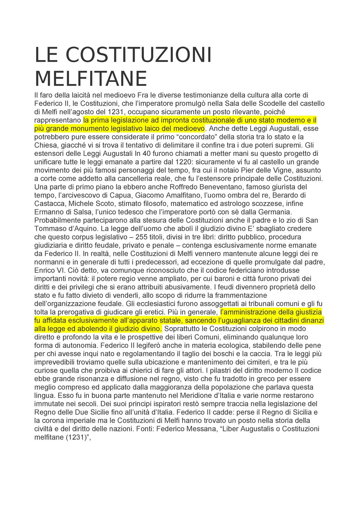 LE Costituzioni Melfitane - Storia medievale - StuDocu