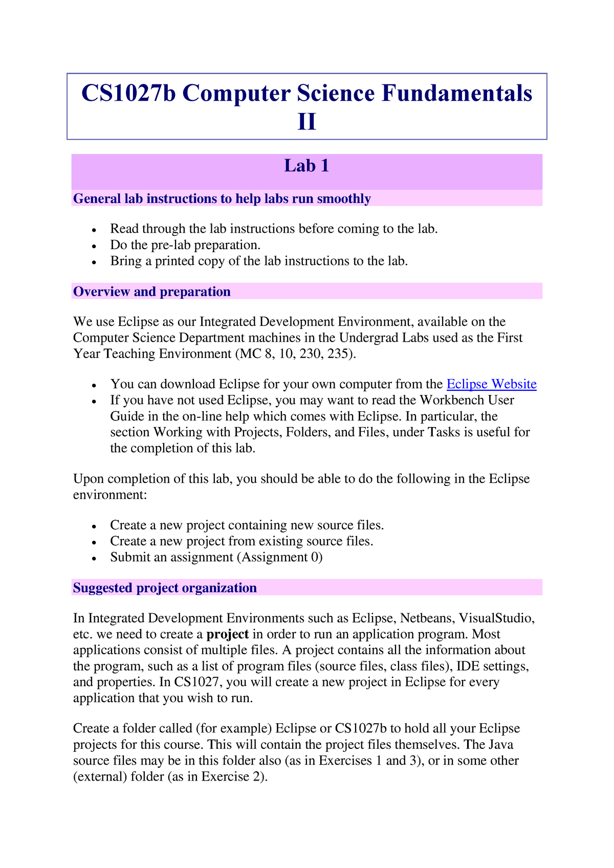 Lab 1, 3-7 - CS1027b Computer Science Fundamentals II - UWO