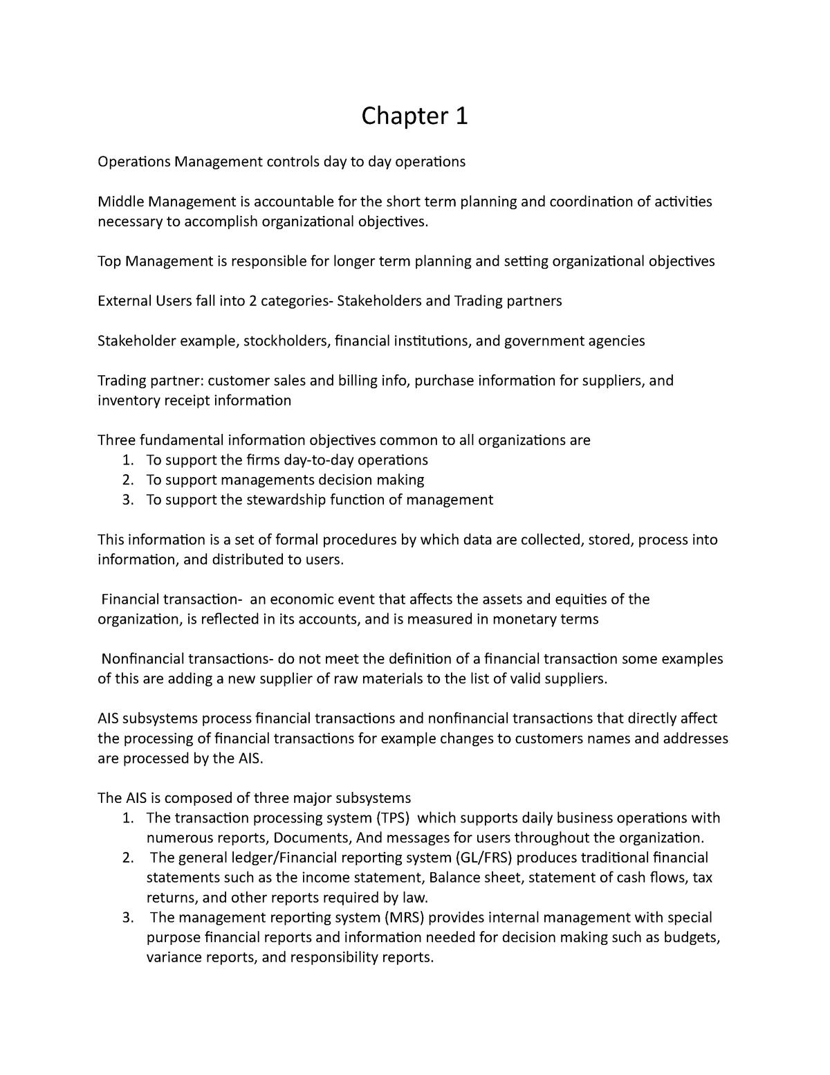 AIS exam 1 notes - ACC 300: Accounting Systems - StuDocu