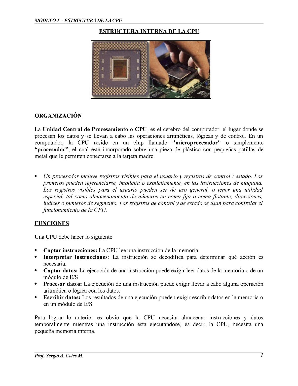 Cpu Estructura Interna Organiz Y Arquit De Comput I 1336