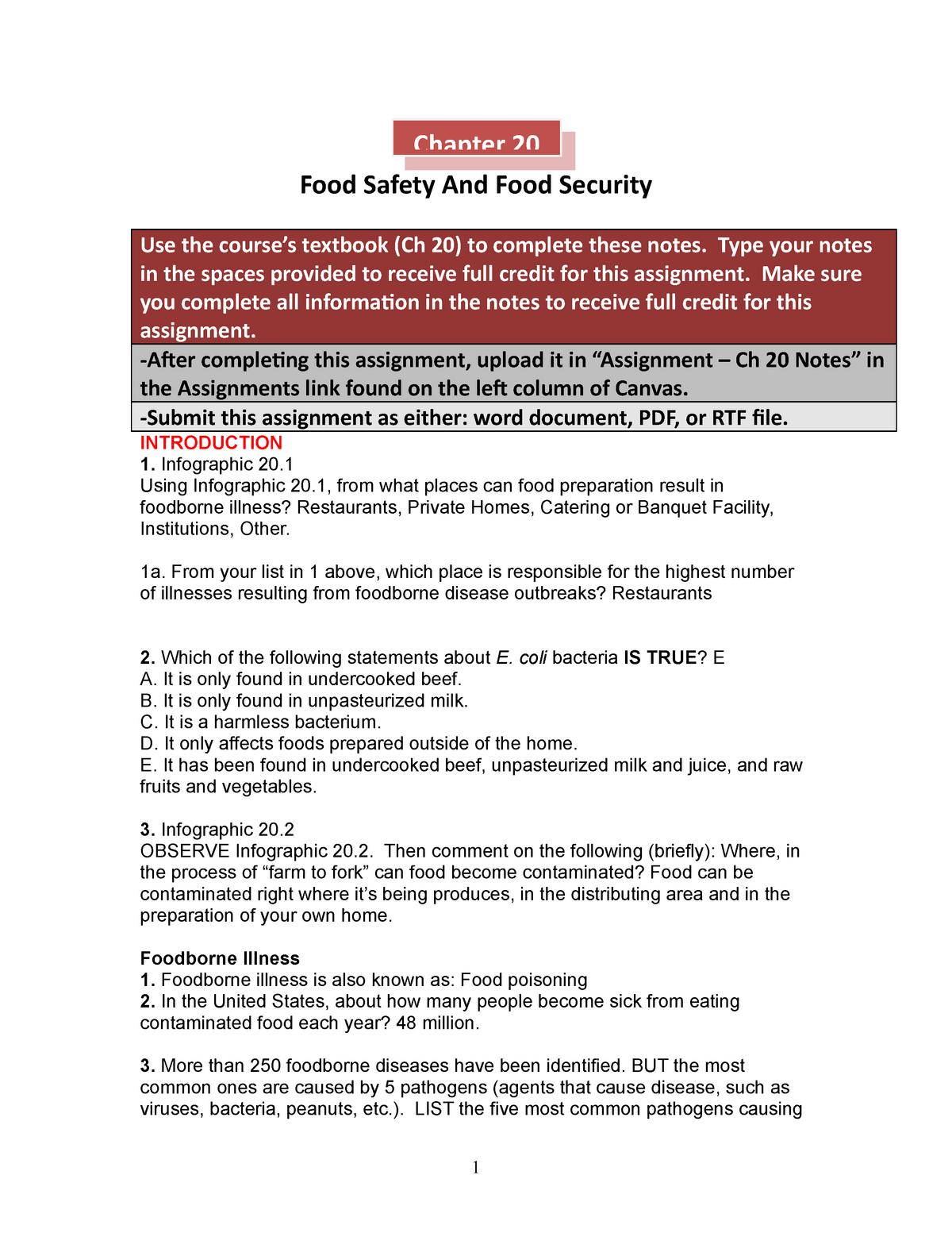 CH 20 HMW - BIOL 1322 Nutrition & Diet Therapy - StuDocu