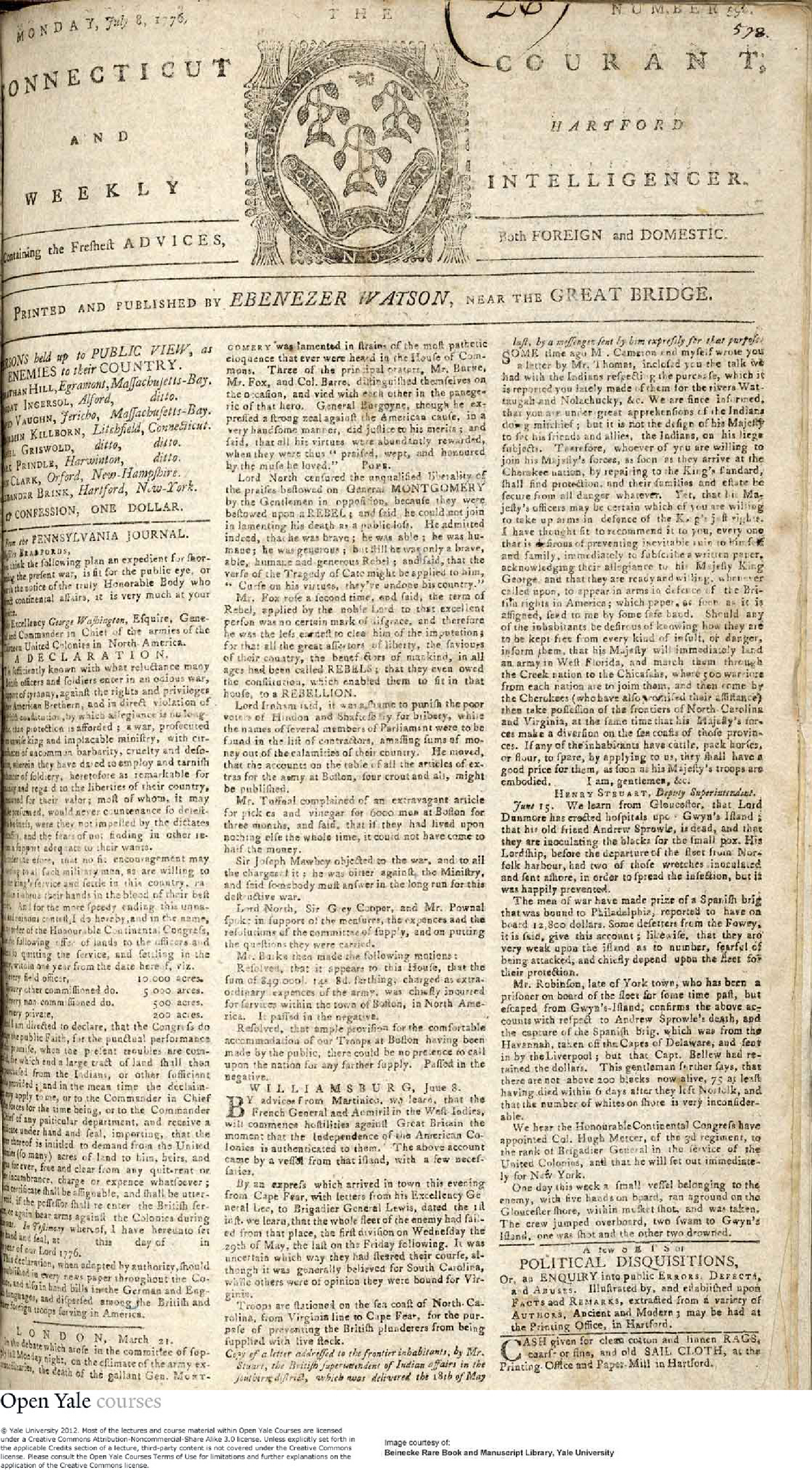 Ct courant history pages july1776 - HIST 116: The American