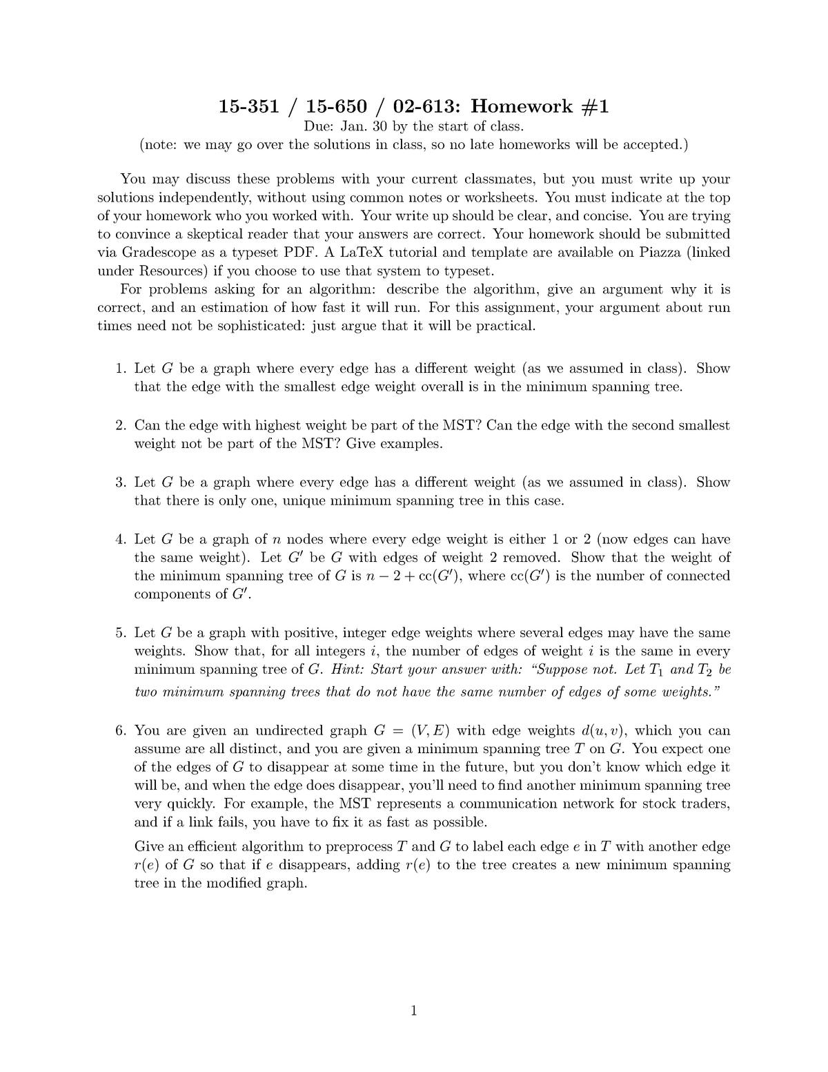 Hw1 - Homework 1-Questions - 15-650: Algorithms and Data