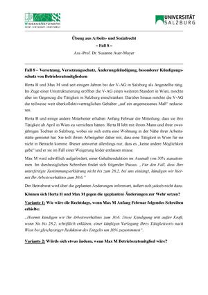 Fall8 Versetzung Versetzungsschutz änderungskündigung Besonderer