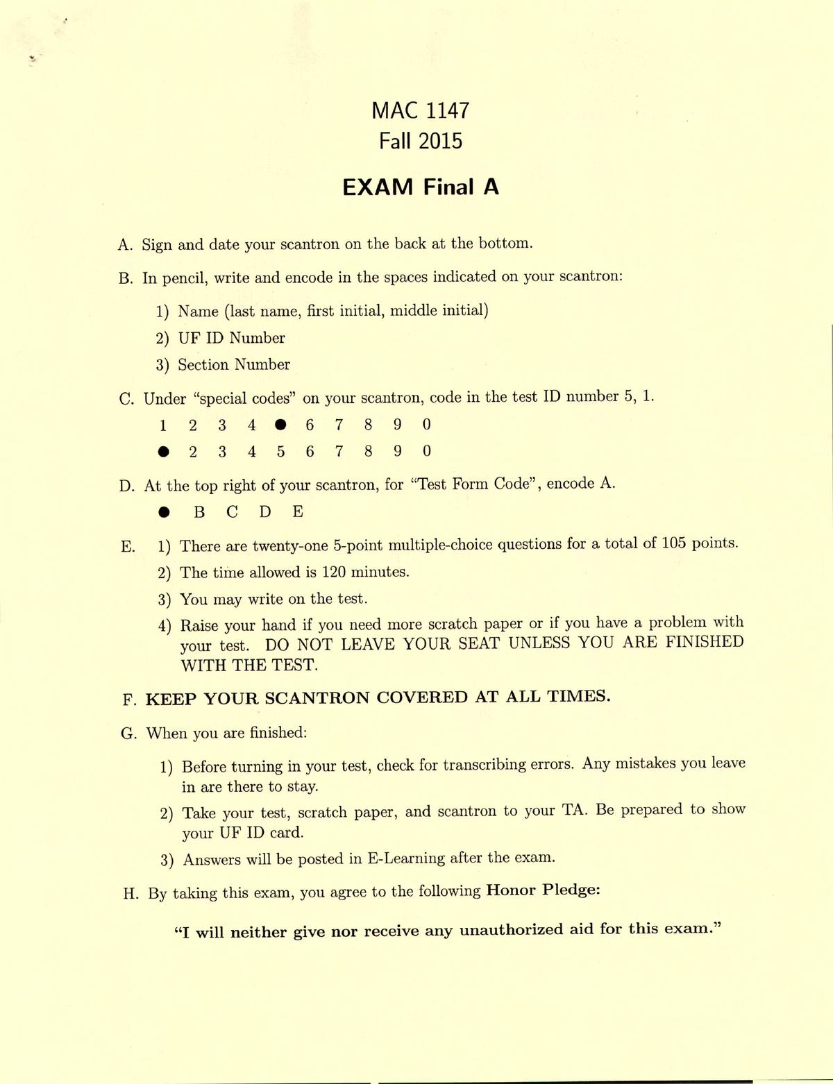 Exam 2015, Questions - Fall Final Exam A - MAC 1147 - StuDocu