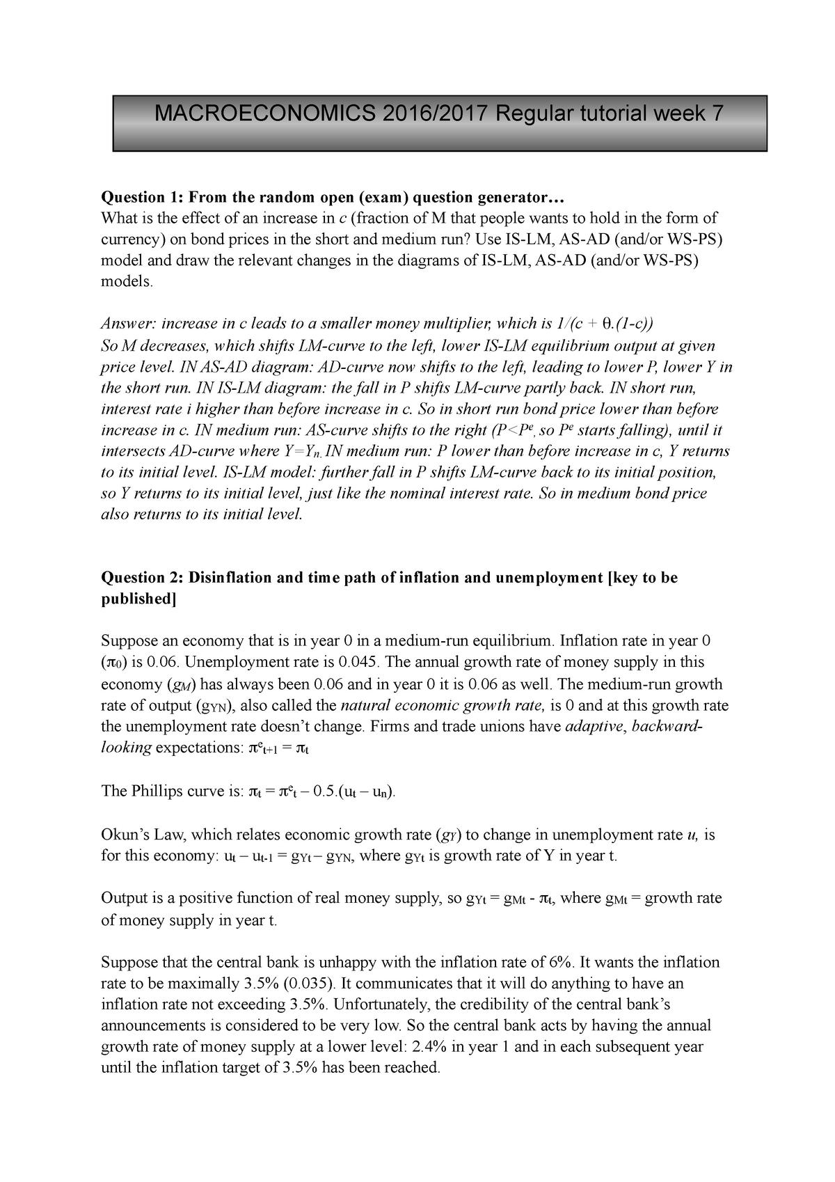 Tutorial 7 - Week 7 - ECB1MACR: Macroeconomics, A European