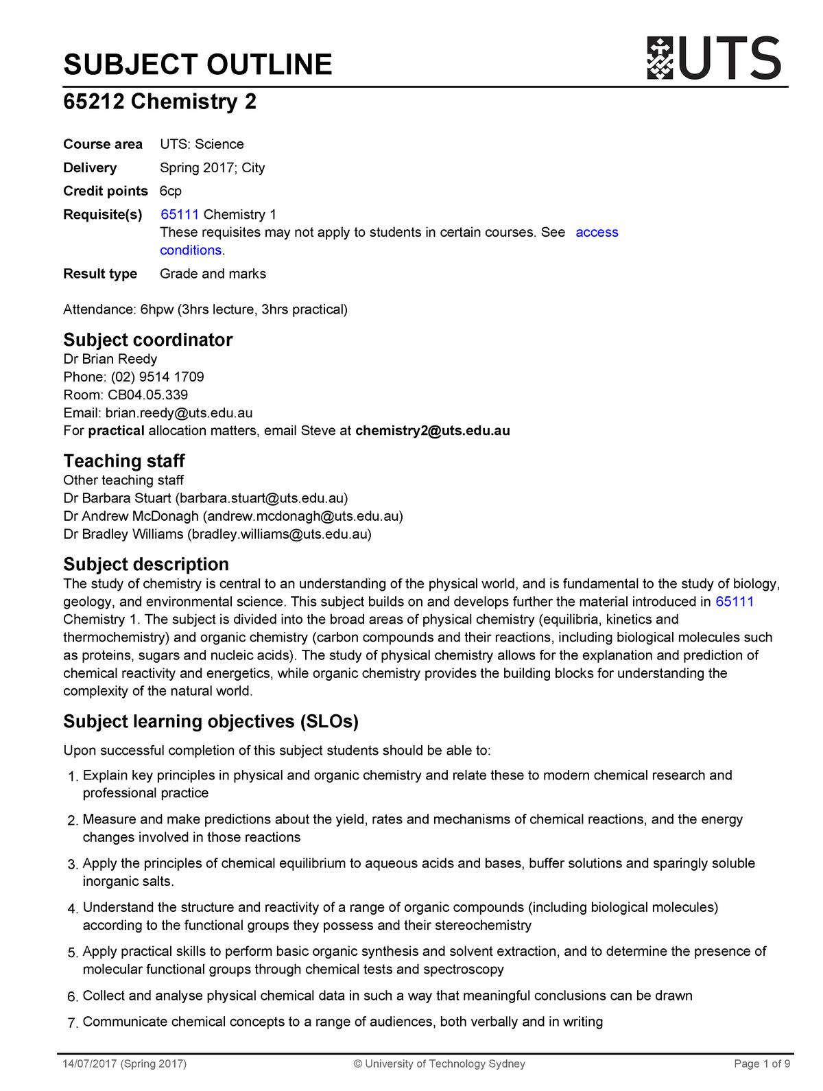 Chemistry 2 Outline - 065212 : Chemistry 2 - StuDocu