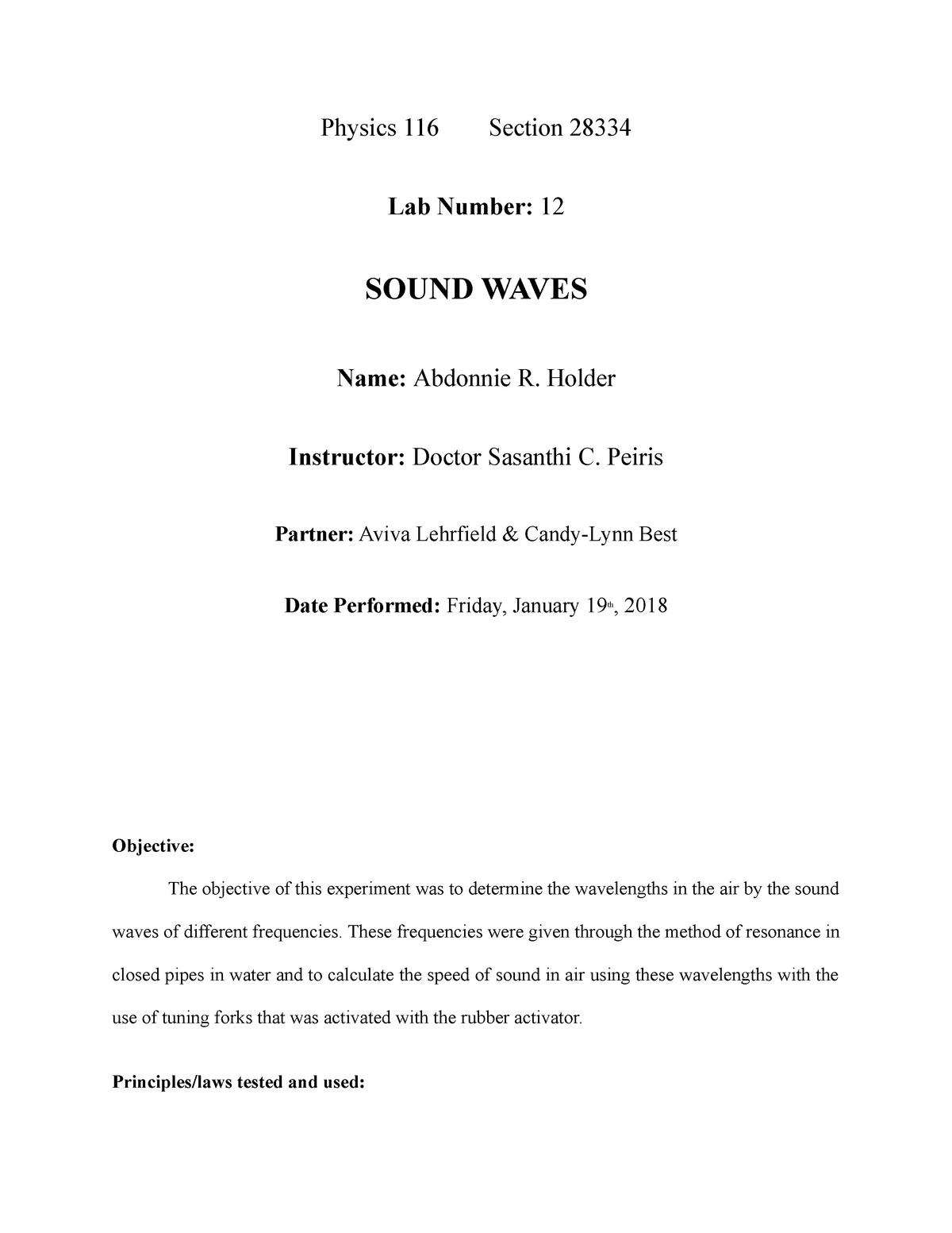 116 sound waves - lab report - PHY 116 Physics I - CSI - StuDocu