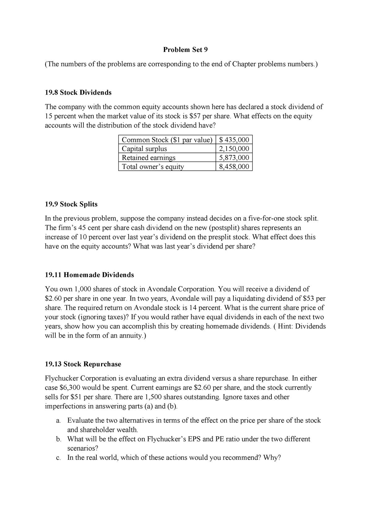 Problem Set 9 - AFIN250 Investments - MQ - StuDocu