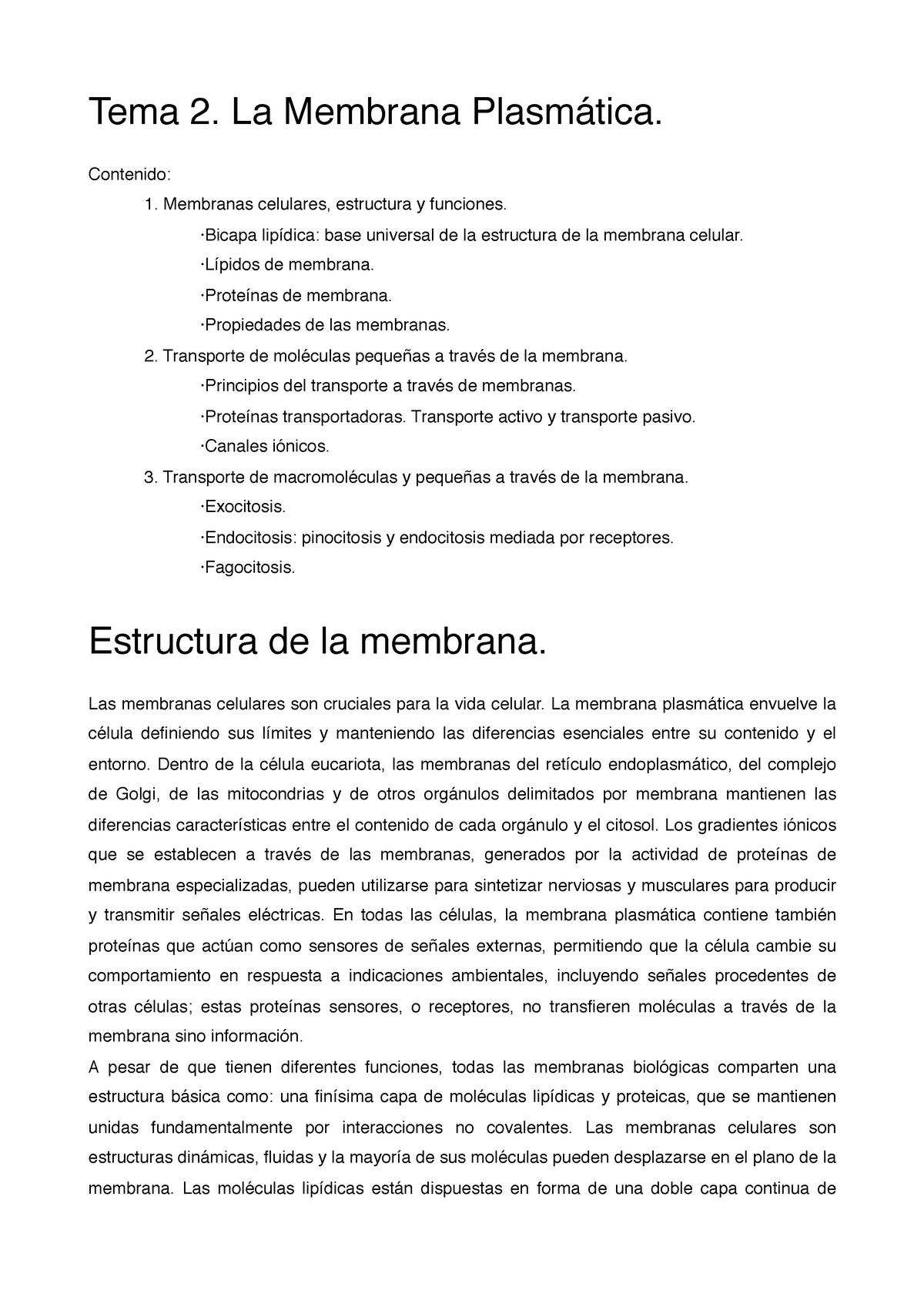 Tema 2 La Membrana Plasmática Citología E Histología