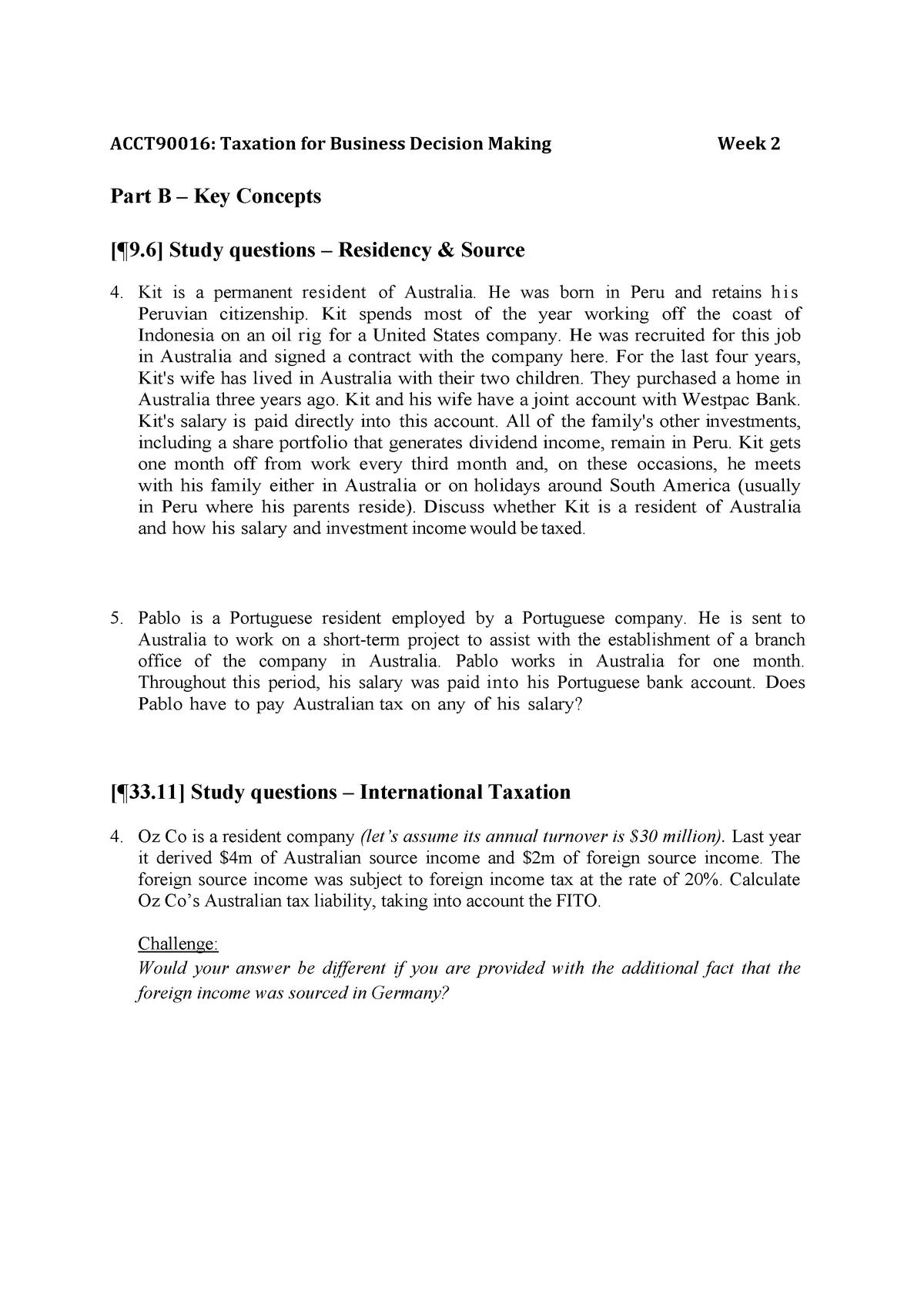 QS B - BLAW30003 Taxation Law II - Unimelb - StuDocu