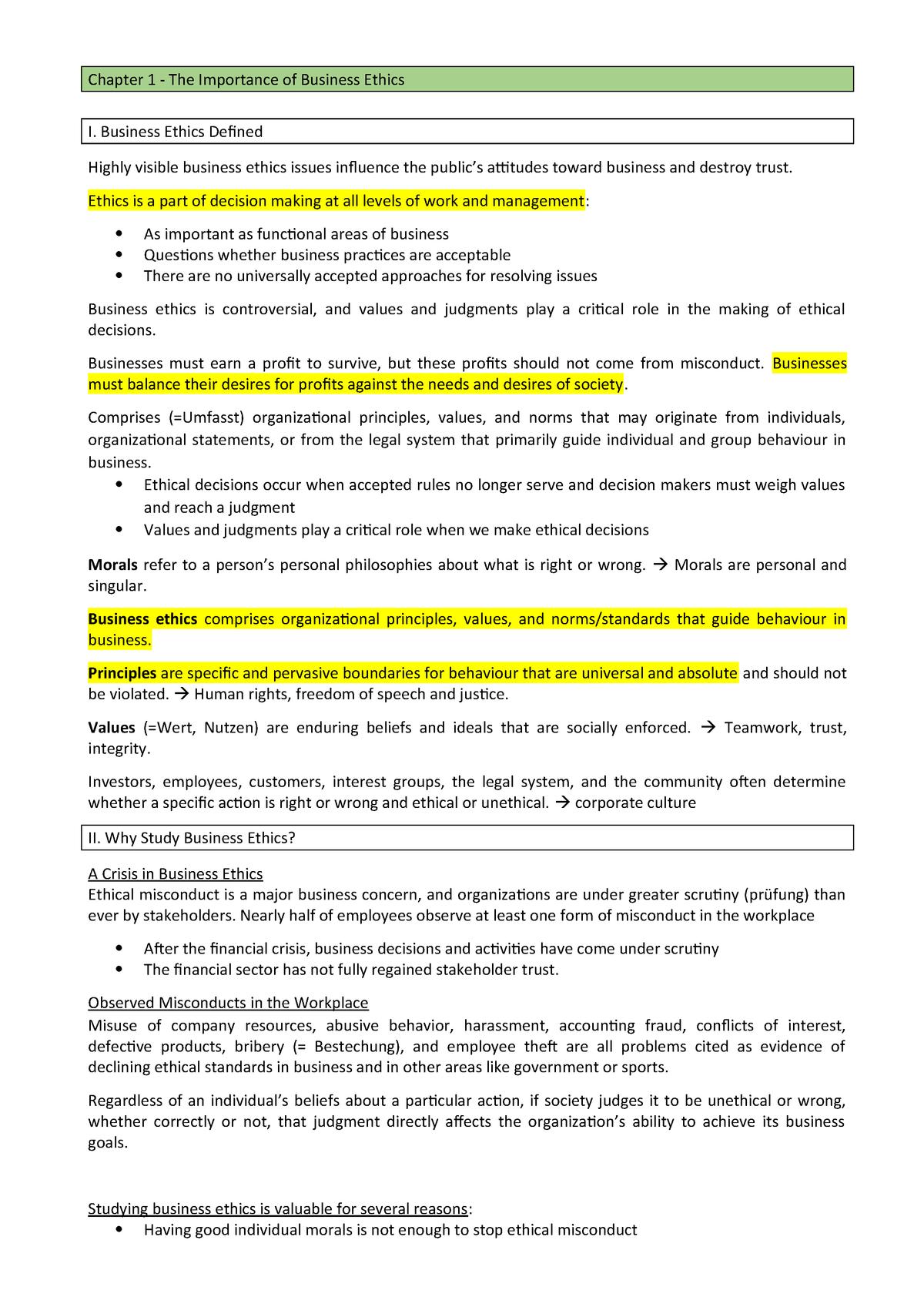 Summary Business Ethics - - FHNW - StuDocu
