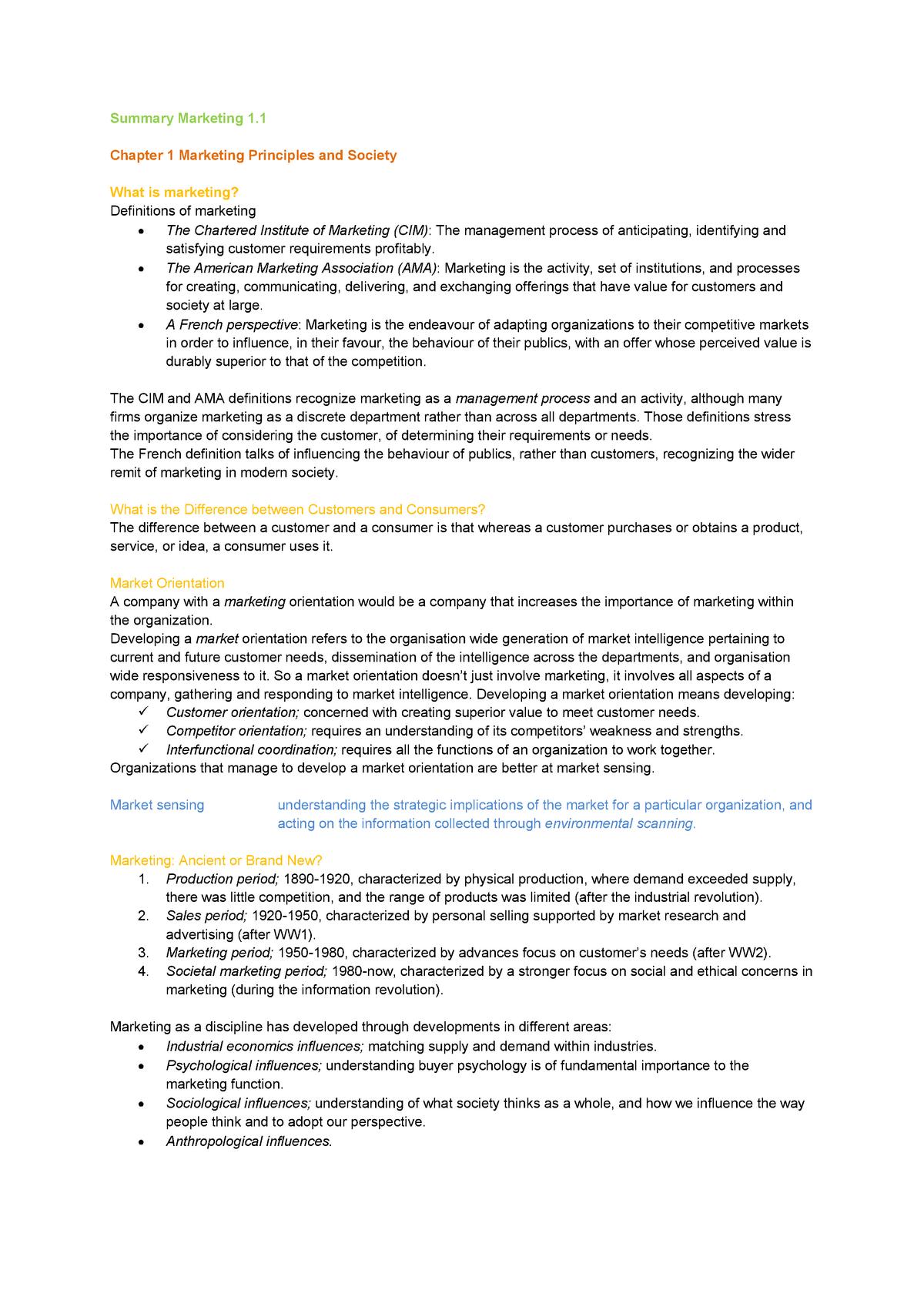Summary Introduction Marketing Marketing Strategy