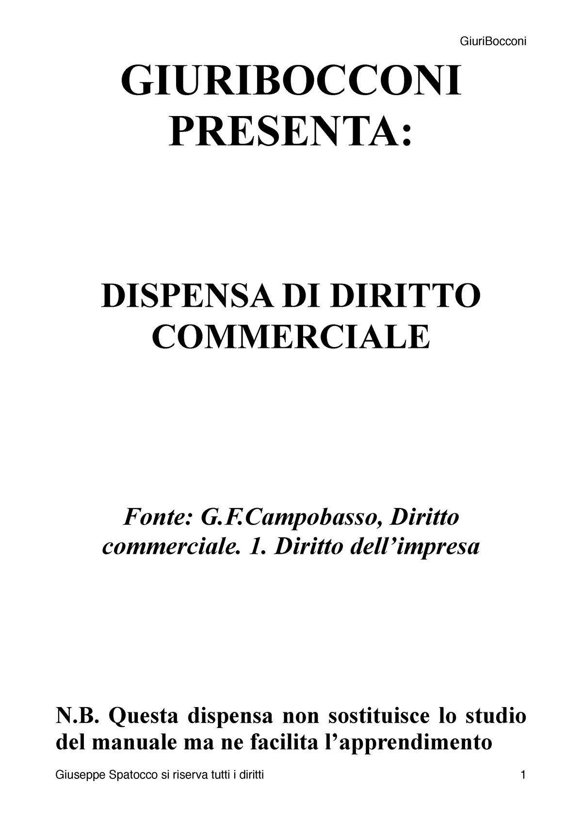 Dispensa commerciale vol1 - 50021 - UniBocconi - StuDocu