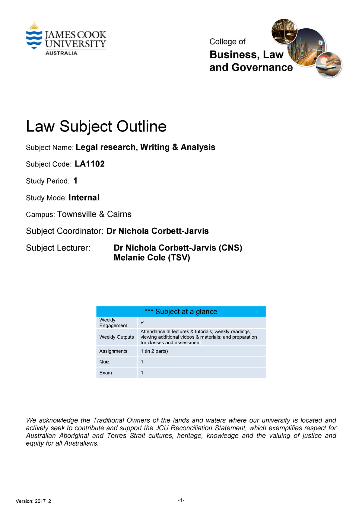 LA1102 subject outline - GR3322:03 Advanced German 2b - JCU