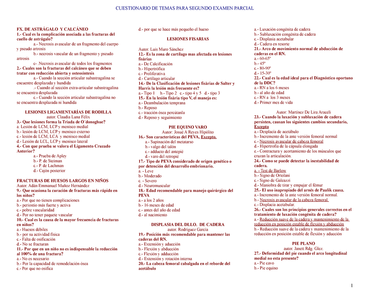 Cuestionario Para El 2do Examen Parcial B Studocu