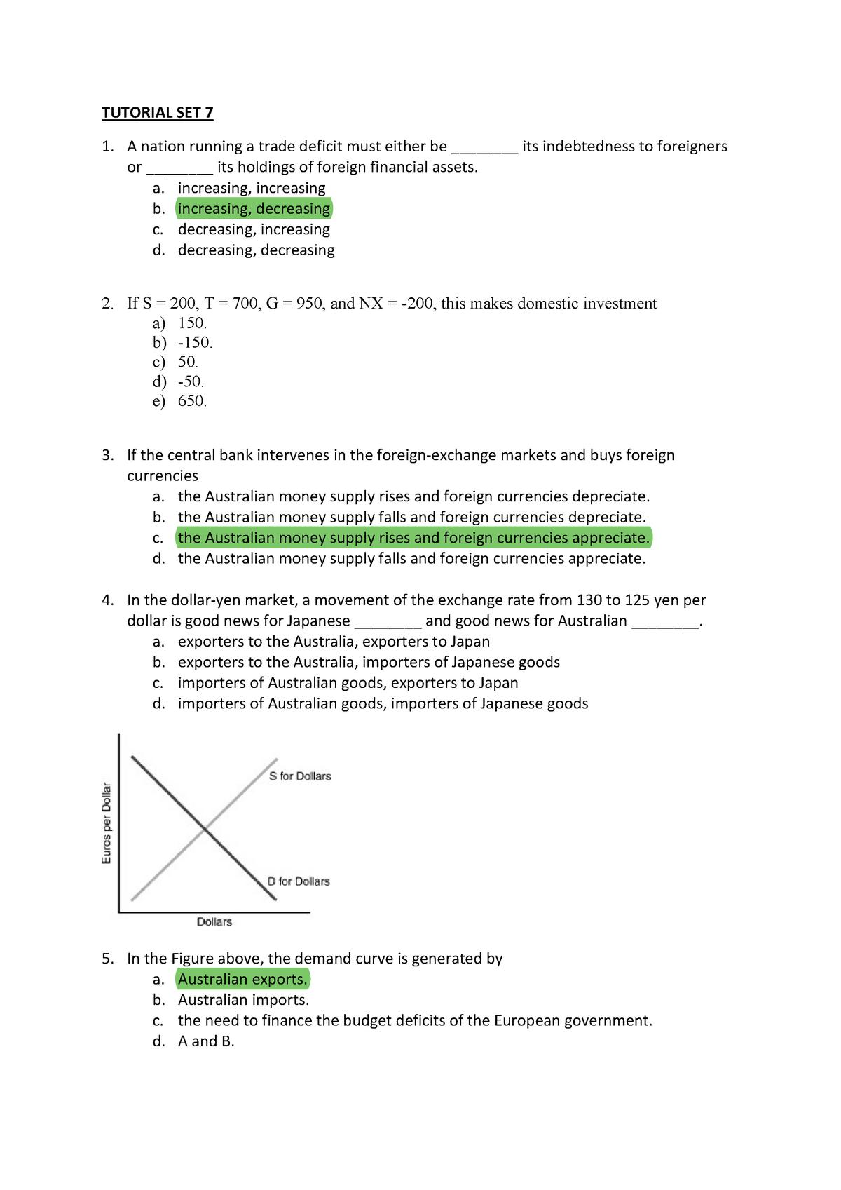 Tutorial Set 7-Questions - MCD2090: Macrcoeconomics - StuDocu