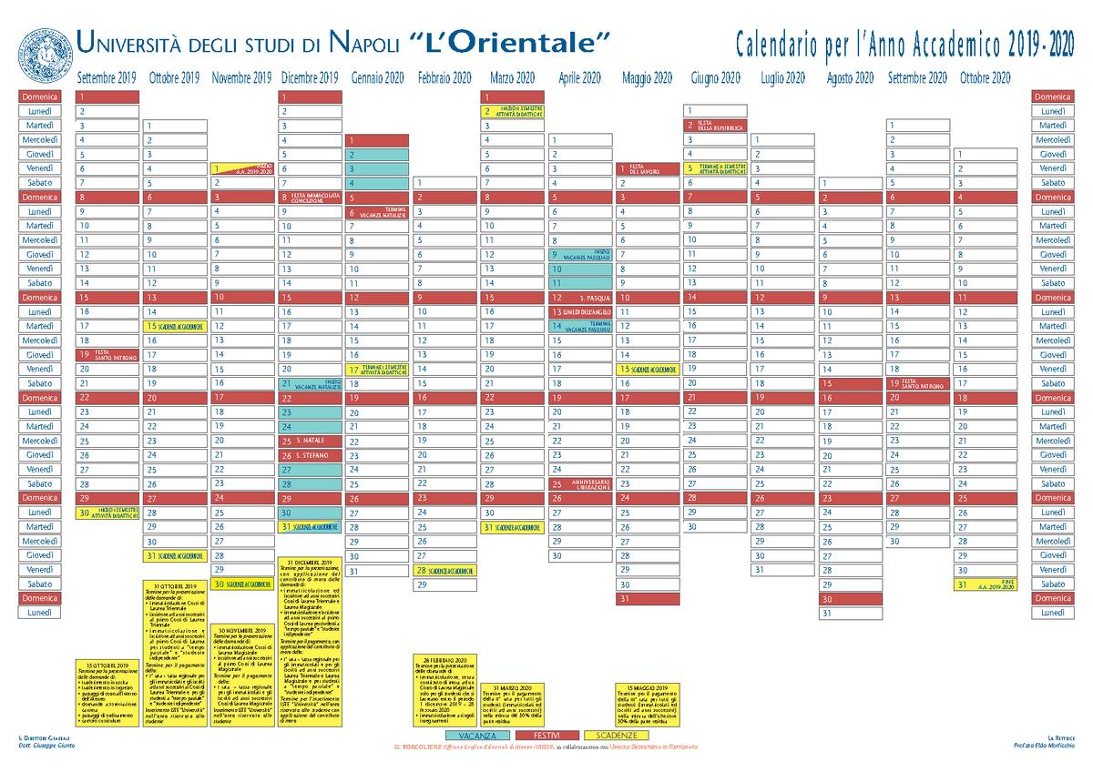 Calendario L'Orientale   Mediazione linguistica e culturale   StuDocu