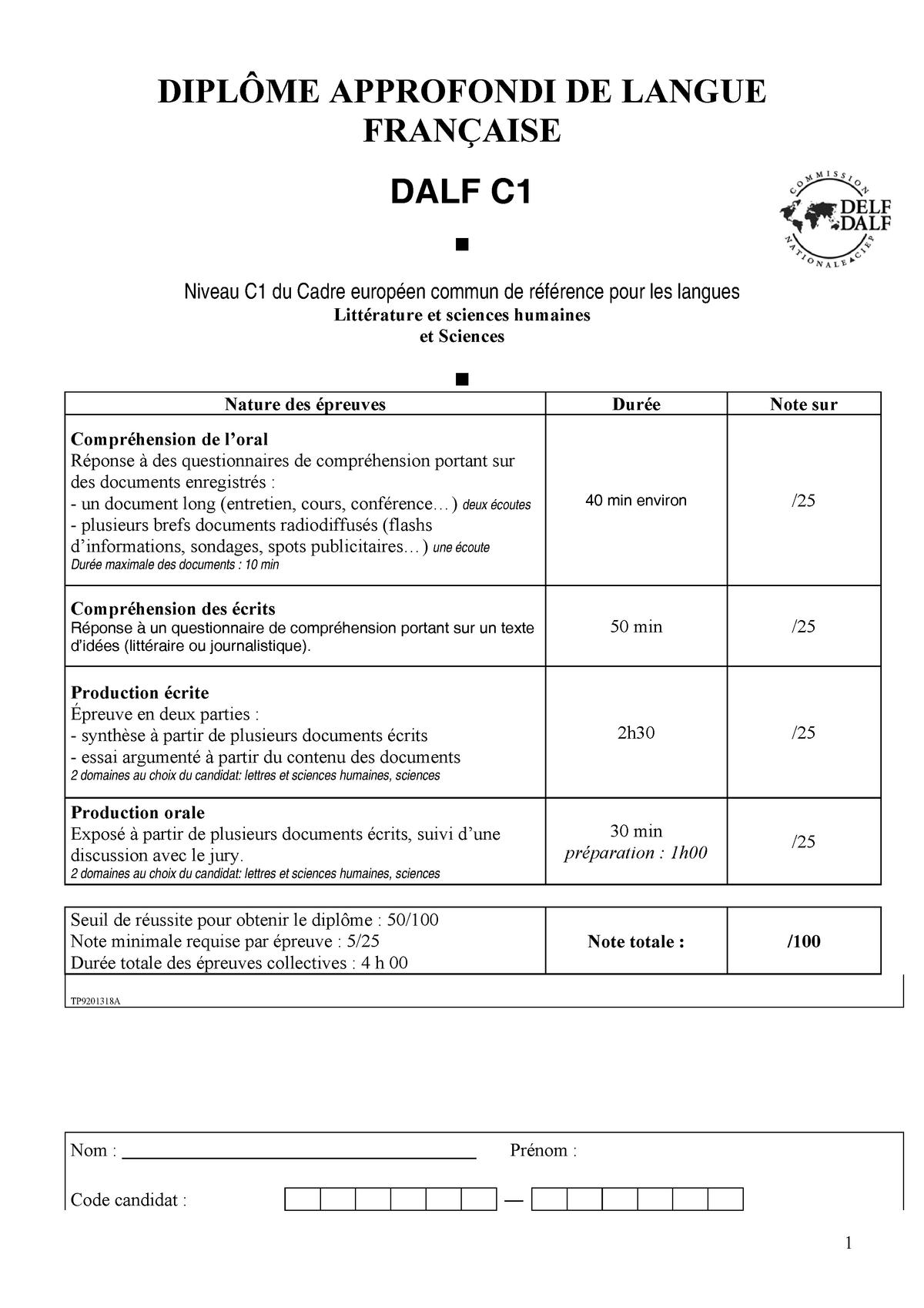 preparation du Dalf sujet complet C1 - Dalf - Bilgi - StuDocu