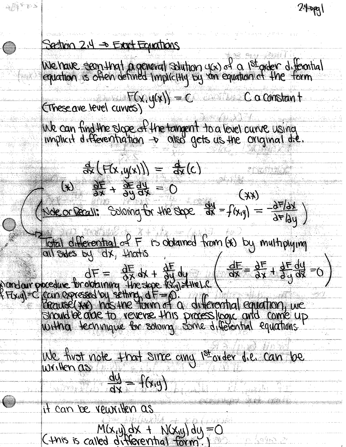 M274 2013-2014 Lecture Notes 7 - Exact Equations - M 274