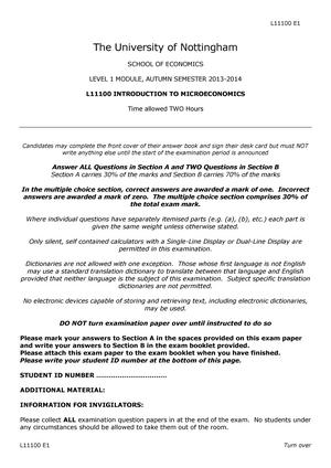 Exam 2014 - Introduction to Microeconomics - StuDocu