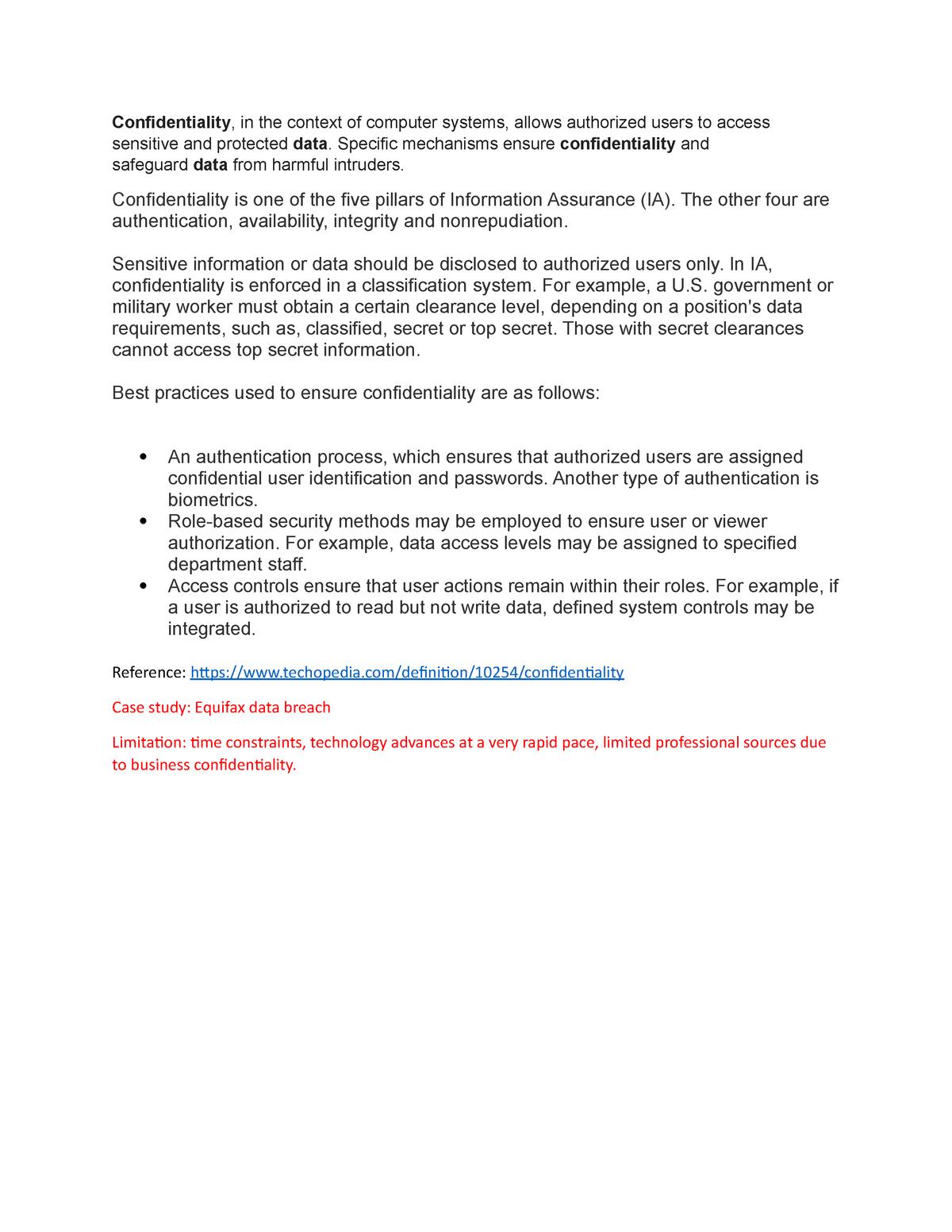 Data confidentiality - ITS 832 - StuDocu