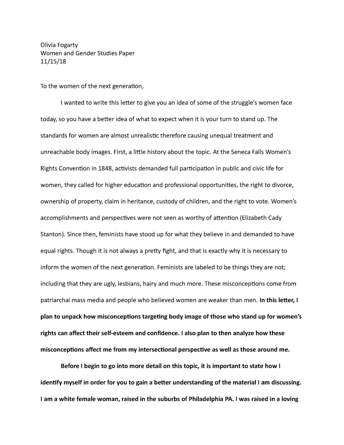 Women and gender studies essay ghostwriting website summer vacations essay