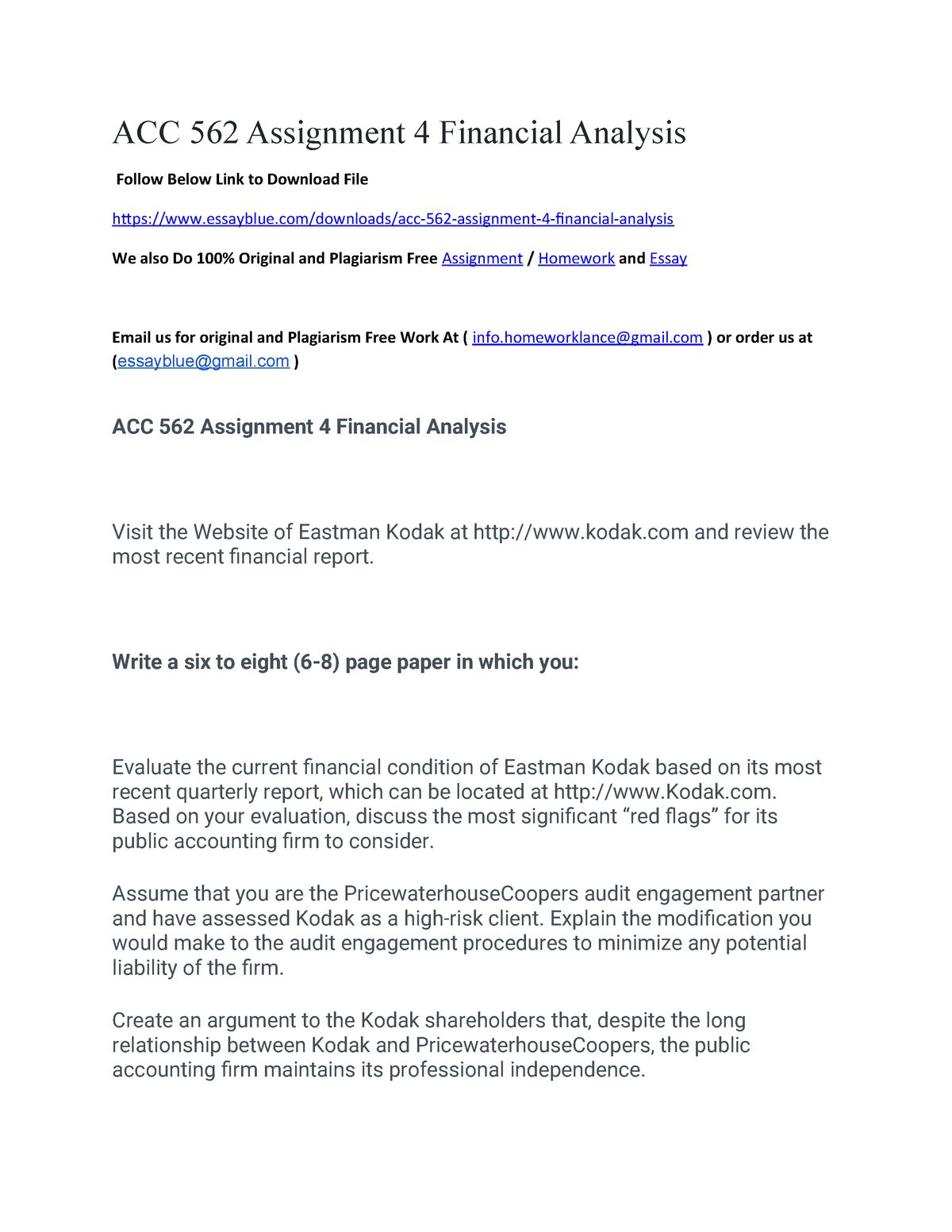 ACC 562 Assignment 4 Financial Analysis - - Ox - StuDocu
