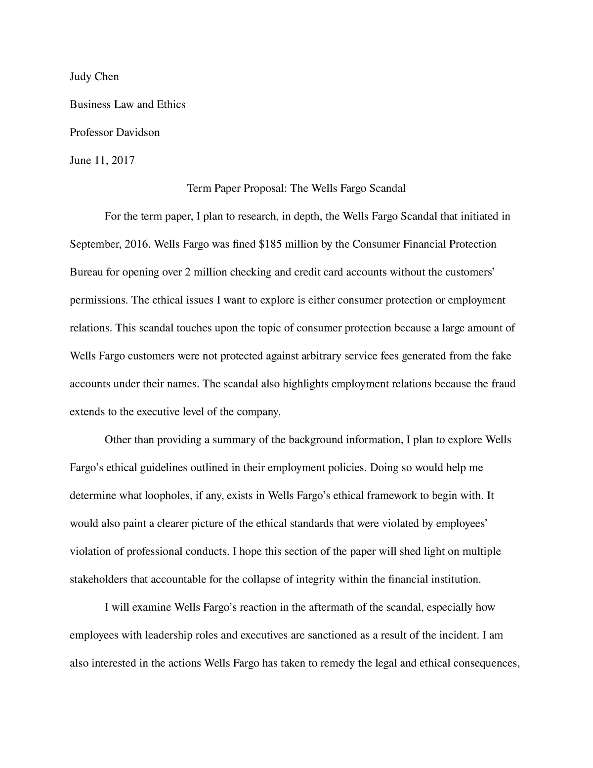 business law and ethics research paper