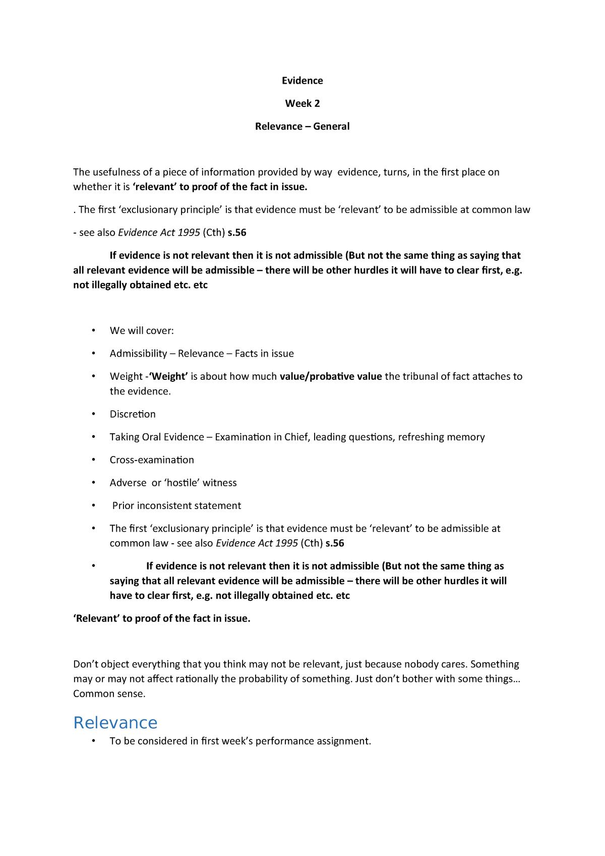Evidence Week 2 - Relevance - LAW3106: Evidence - StuDocu