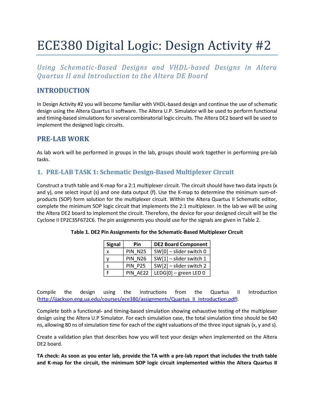 LAB 2 Friday, June 6, 2014 - ECE 380: Digital Logic - StuDocu