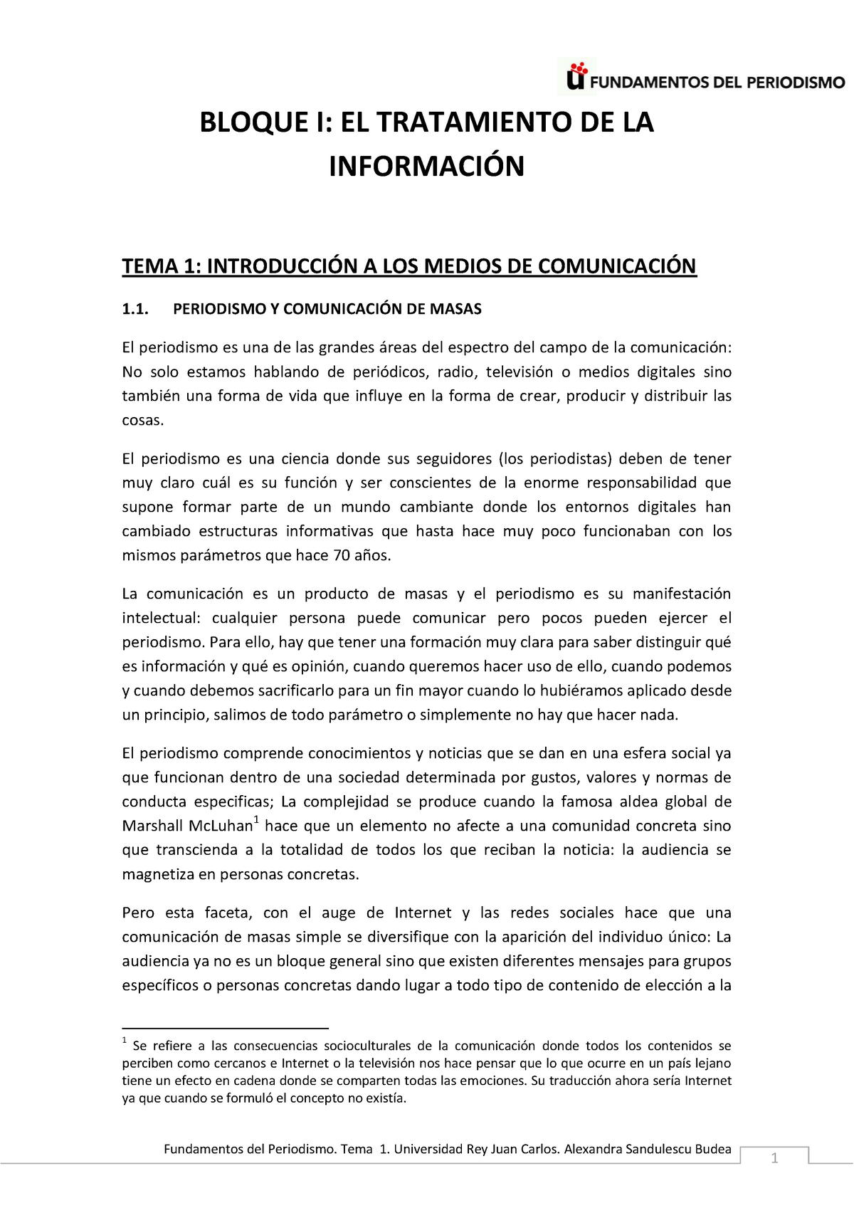 Tema 1 Intro A Los Medios De Comunicación 2016 Urjc
