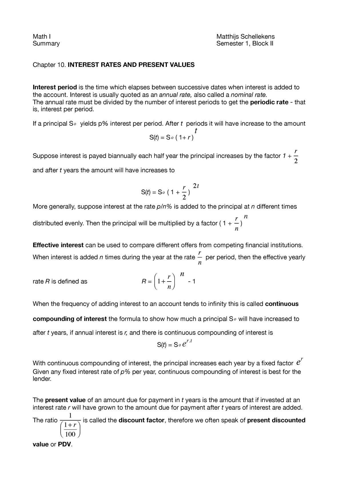 Mathematics 1 Summary Interest Rates And Present Values Studocu