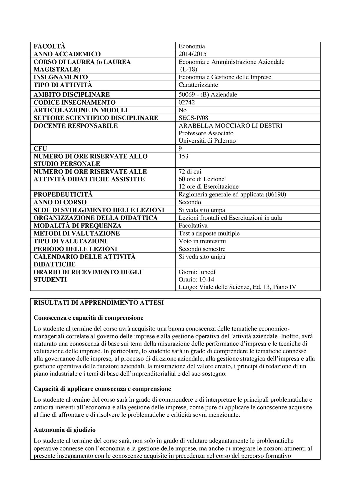 Calendario Esami Unipa Economia.Mocciarolidestri Rev Economia E Gestione Delle Imprese