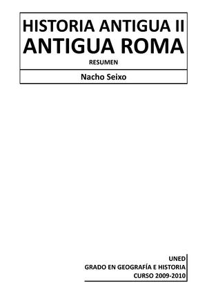 Apuntes Historia Antigua Ii El Mundo Clasico Historia De Roma