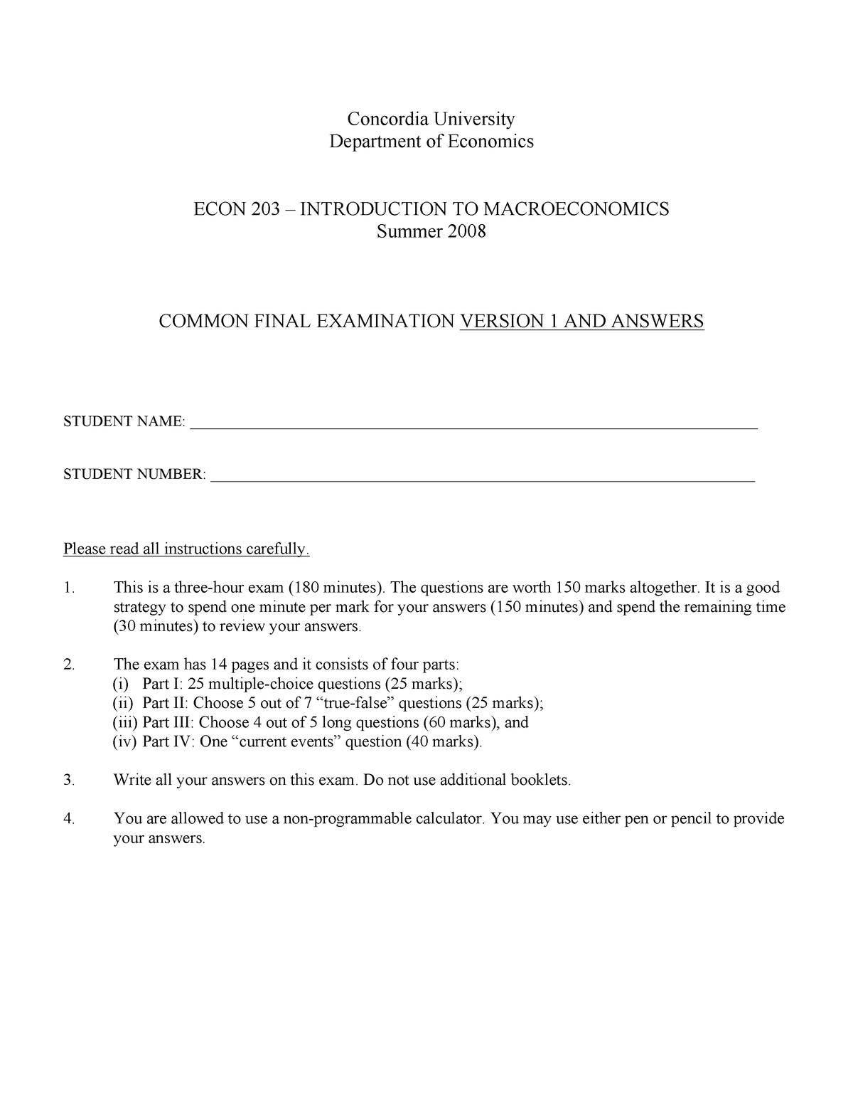 Exam 2014, questions - ECON 203 - Concordia - StuDocu