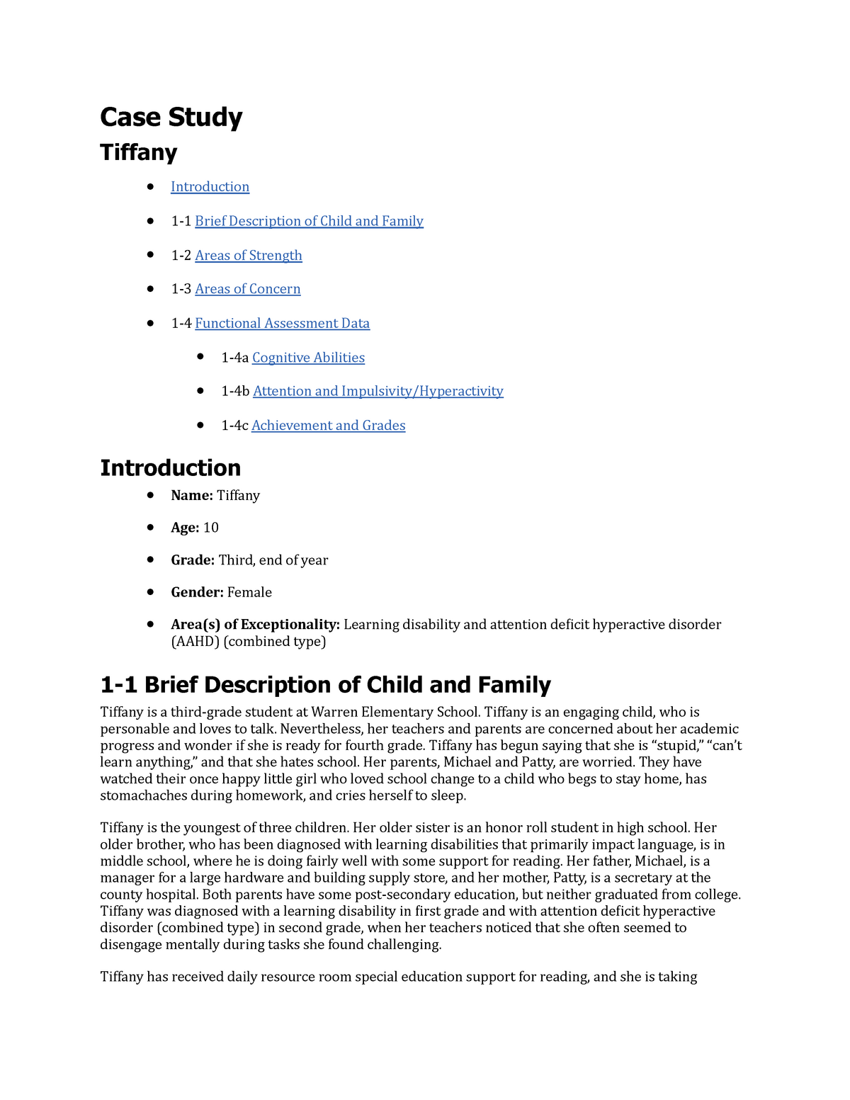 Special Education Case Study Example