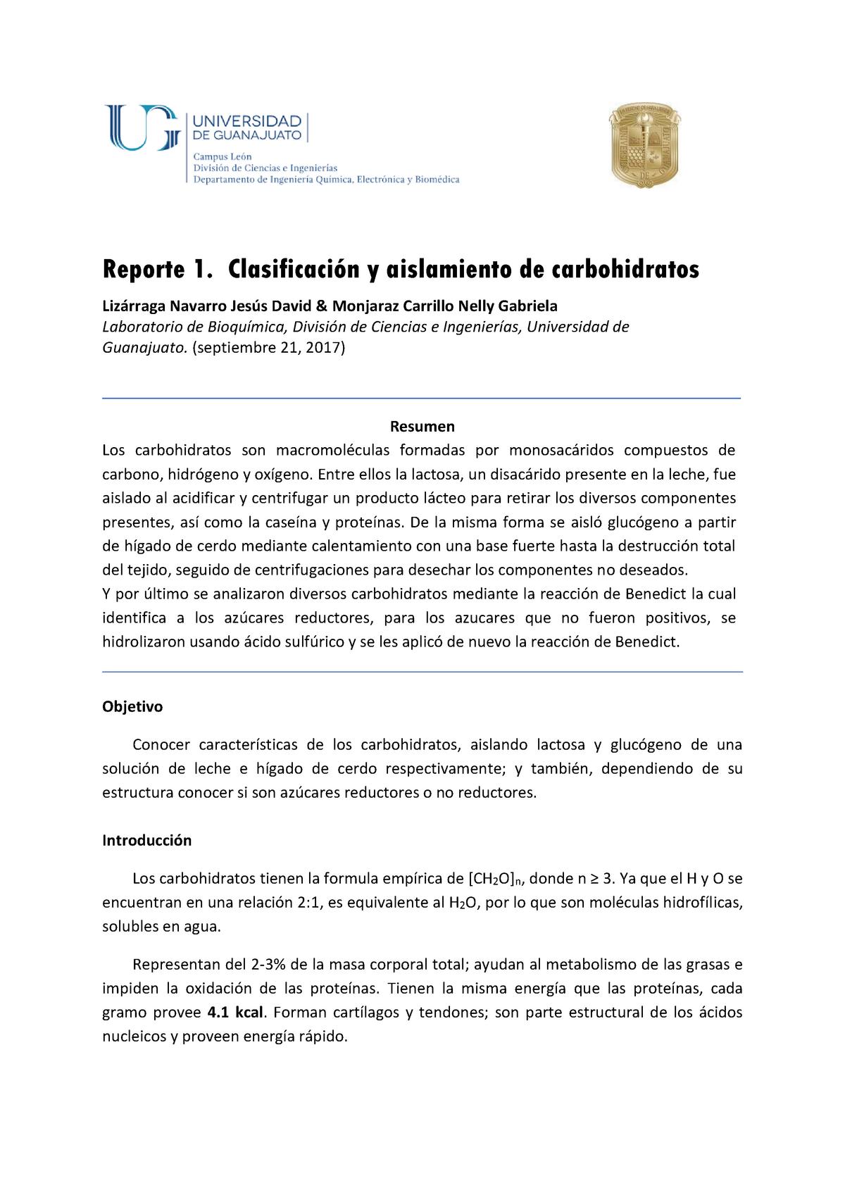 Carbohidratos Reporte 1 Bioquímica Scli06005 Ug Studocu