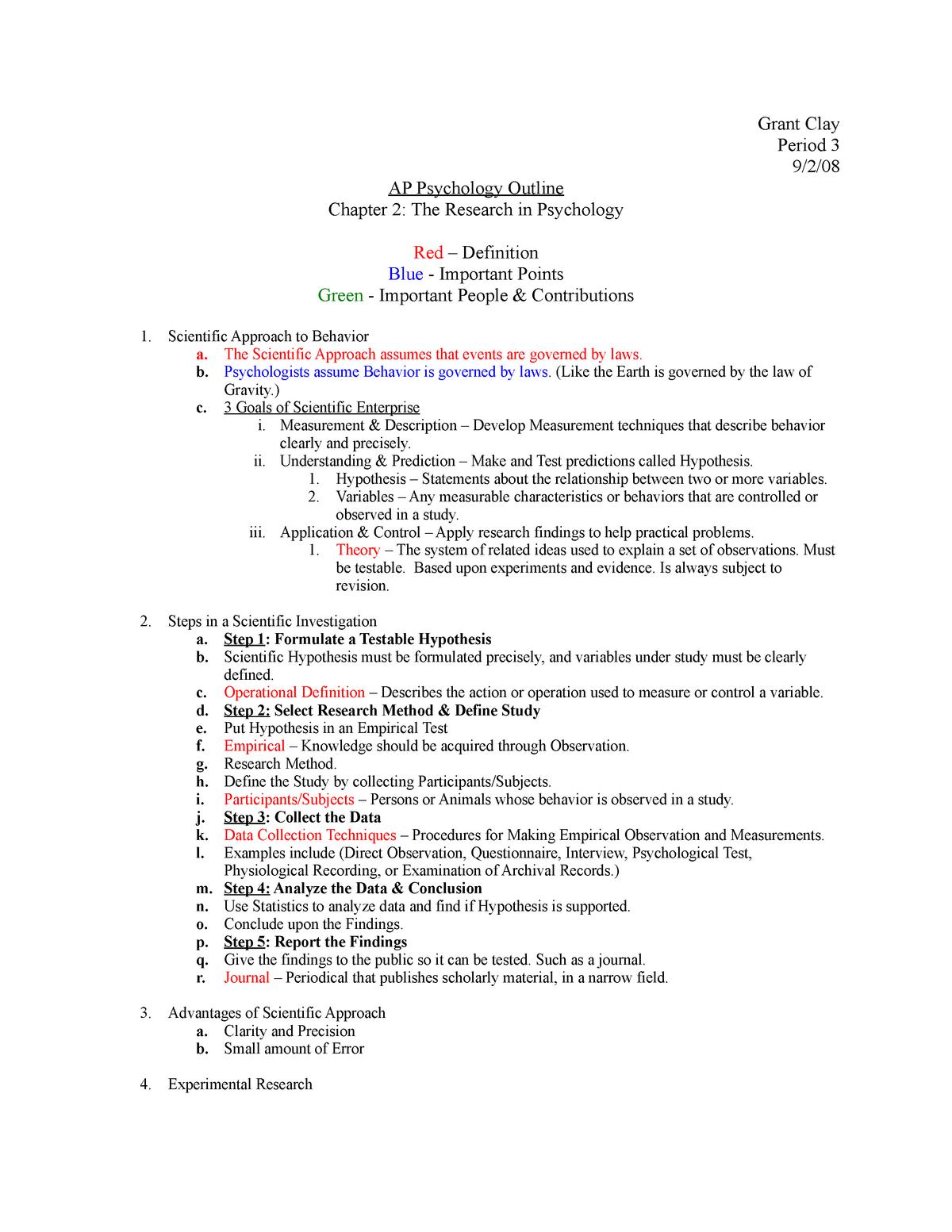 APP Ch 2 Outline - PSCH 312 Social Psychology - UIC - StuDocu