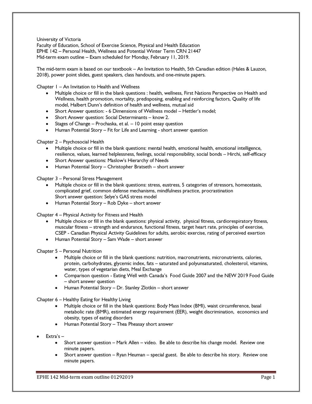 Exam 2019 - Ephe142: Personal Health Wellness and Potential - StuDocu