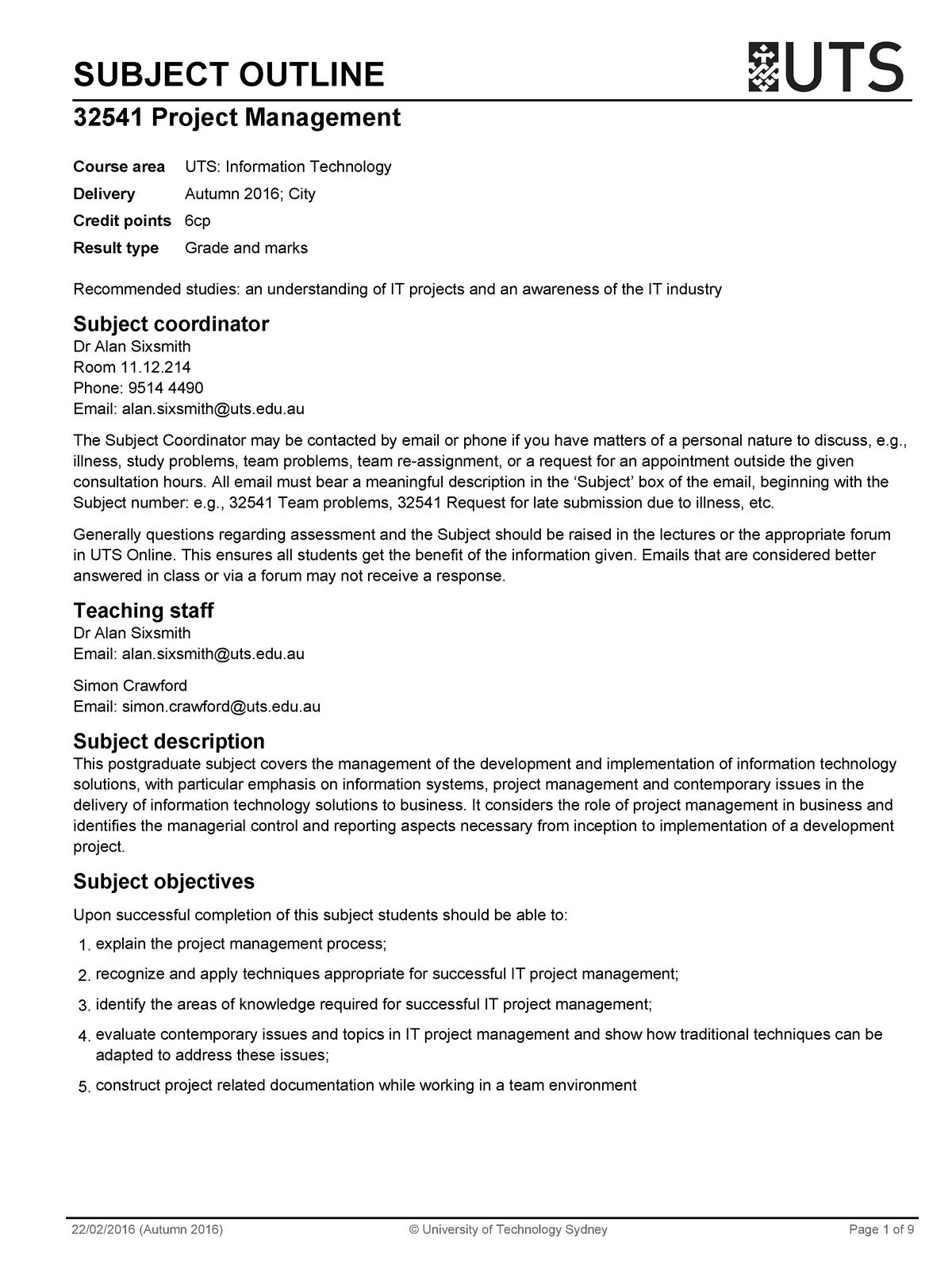 Subject outline - 032541 : Project Management - StuDocu