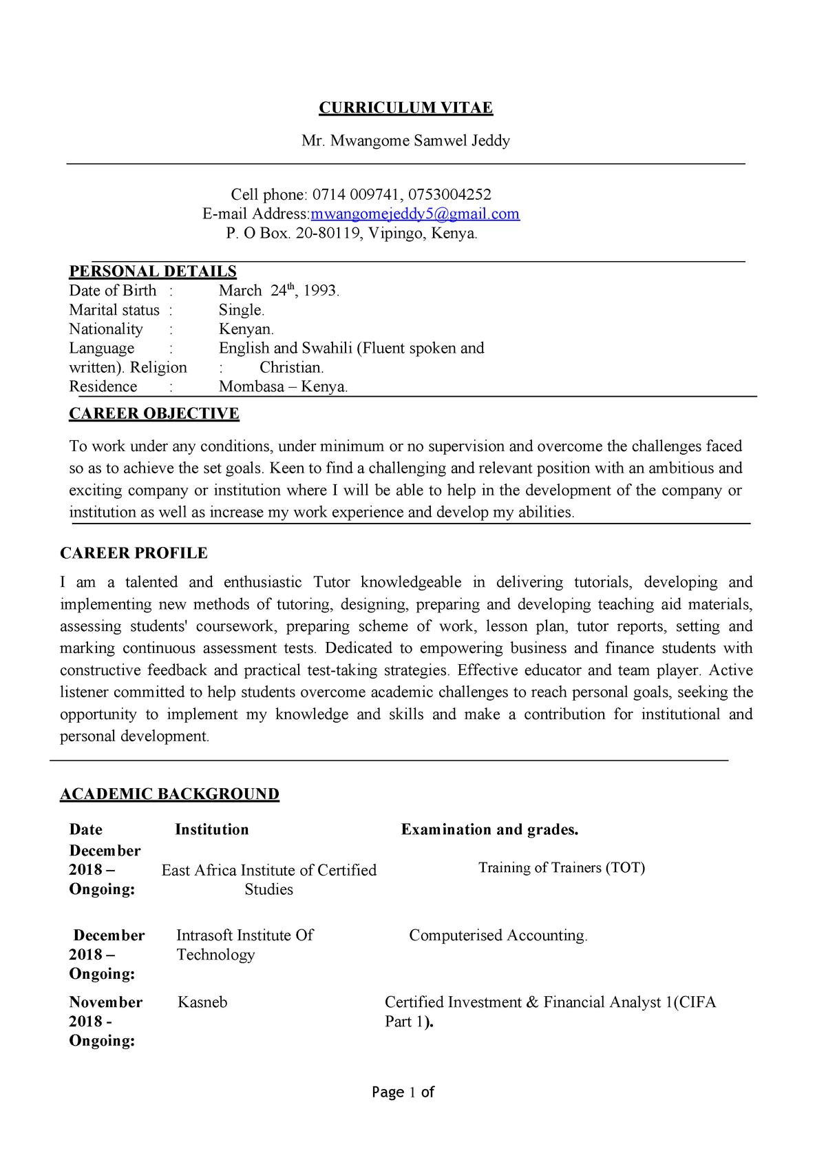 jeddy samwel mwangone - Bachelor of Commerce - StuDocu