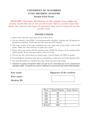 Sample Exam - Decision Analysis CC 501 - Uni Mannheim - StuDocu