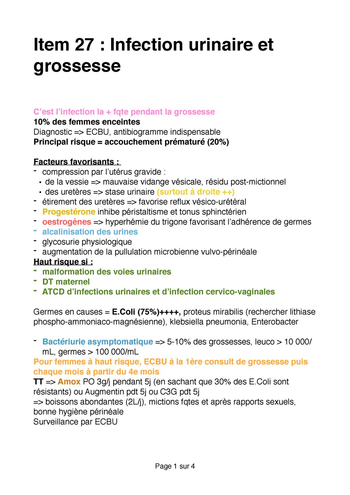 Item 27 - Infection urinaire et grossesse - Item iECN: Item IECN ...