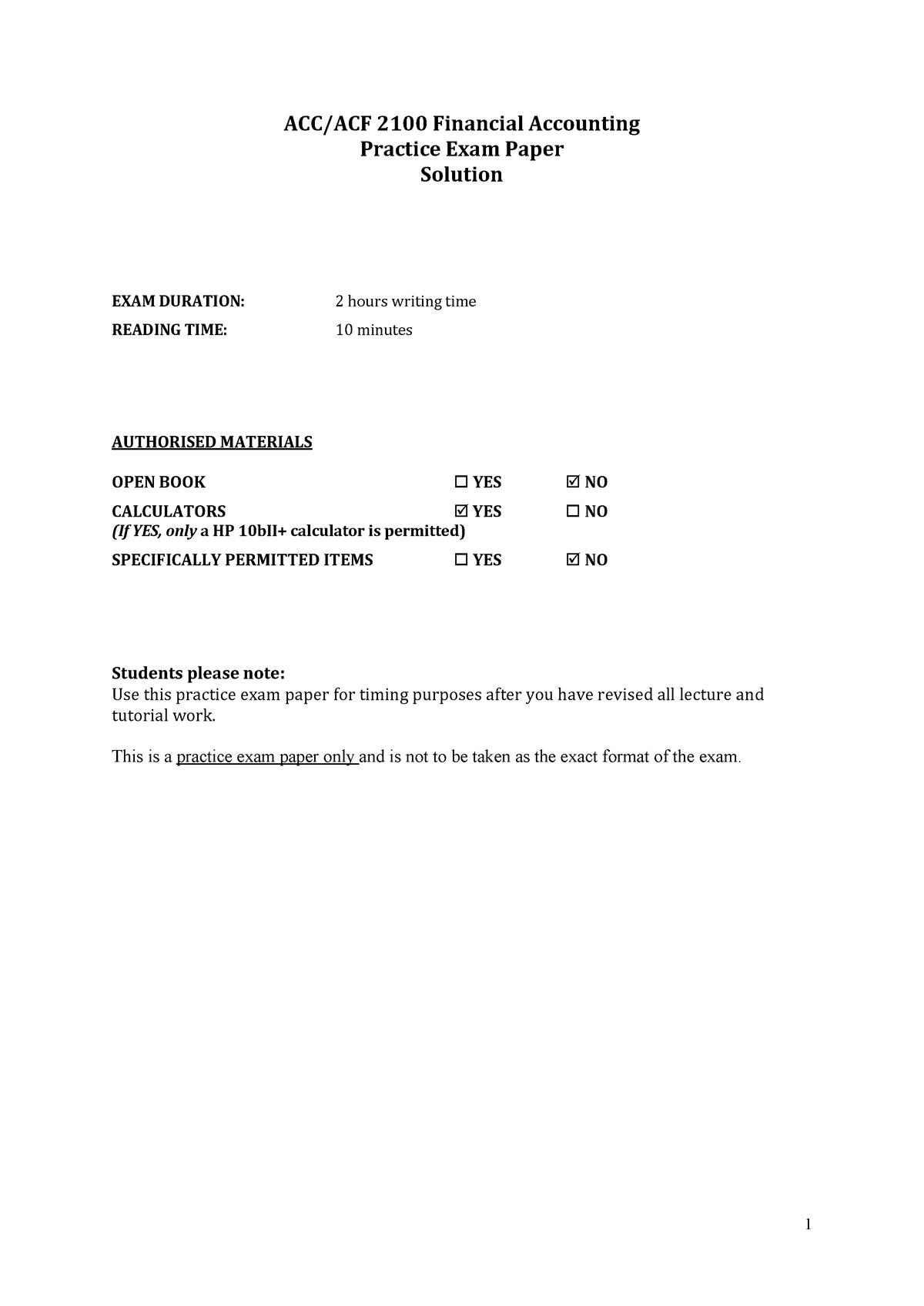 Exam 2018 - ACC2100: Financial Accounting - StuDocu
